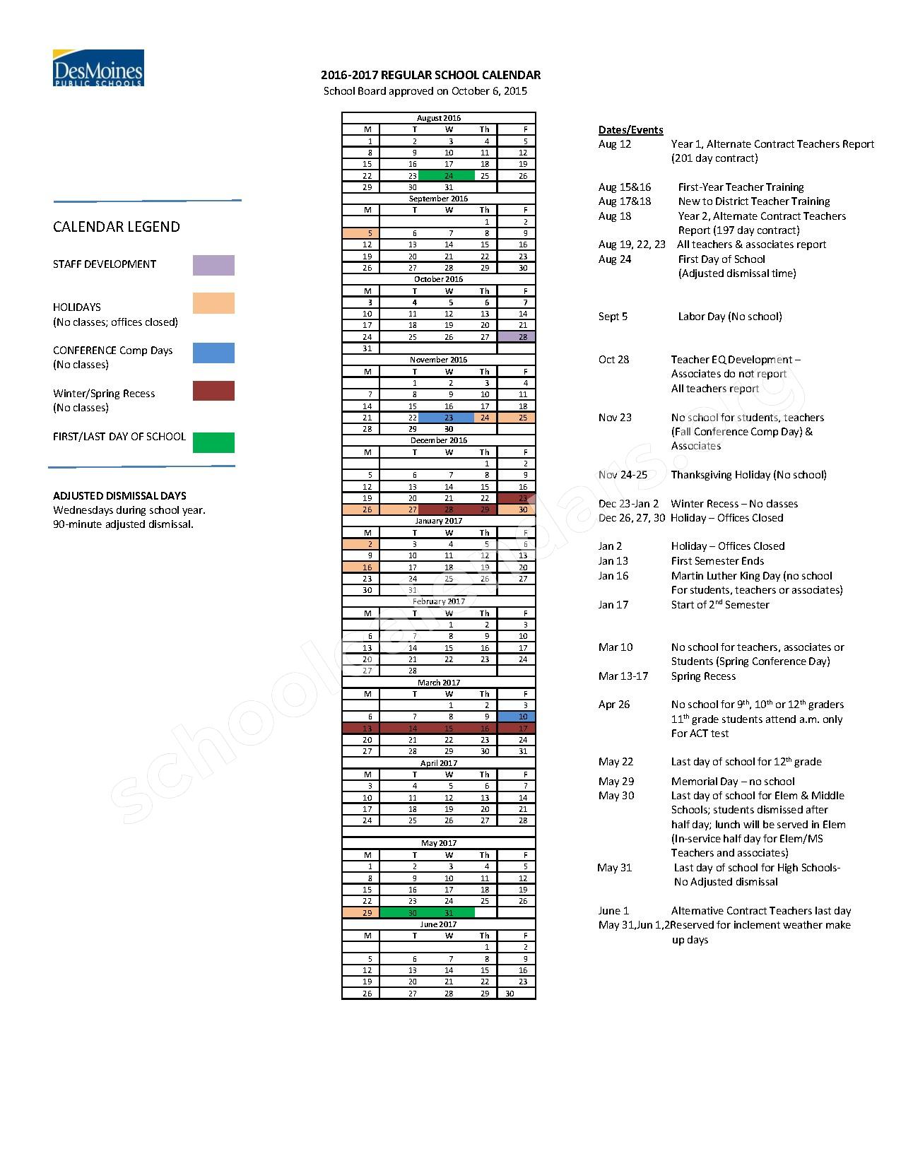 2016 - 2017 Regular School Calendar – Des Moines Independent Community School District – page 1