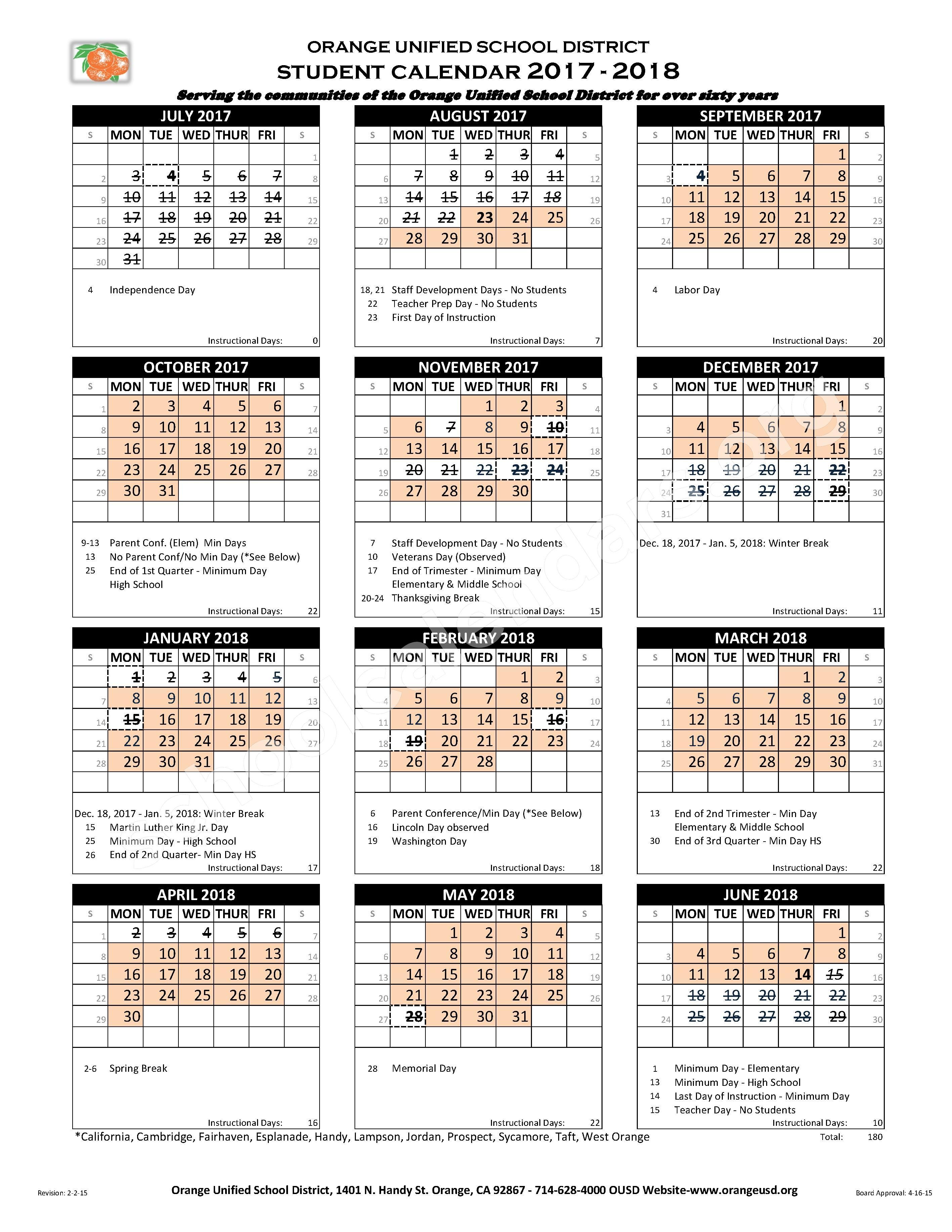 Orange Unified School District Calendars – Orange, CA