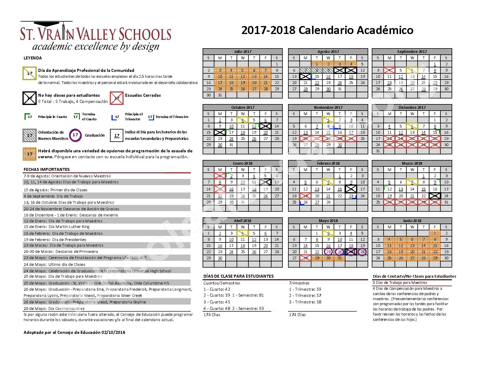 2017 - 2018 Calendario Escolar – St. Vrain Valley Schools – page 1