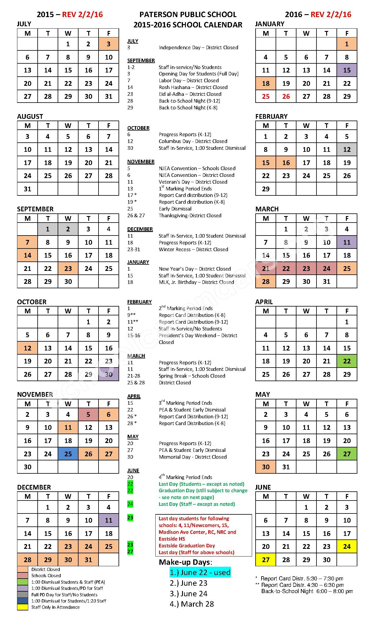 2015 - 2016 District Calendar – Paterson Public Schools – page 1
