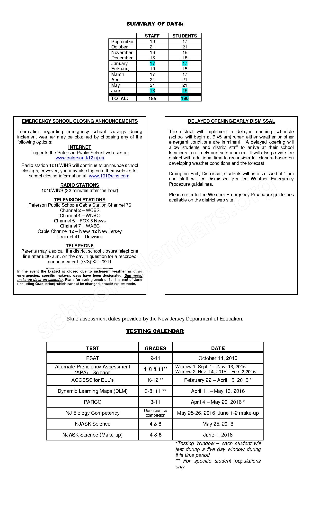 2015 - 2016 District Calendar – Paterson Public Schools – page 2