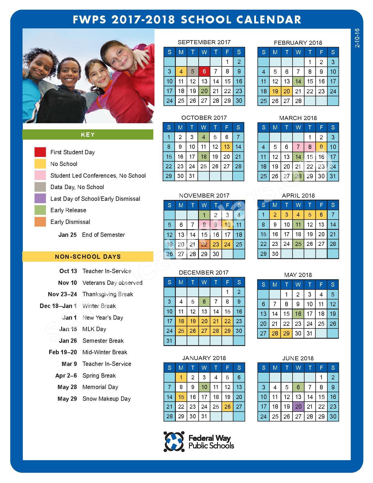 2017 - 2018 FWPS Calendar – Federal Way School District – page 1