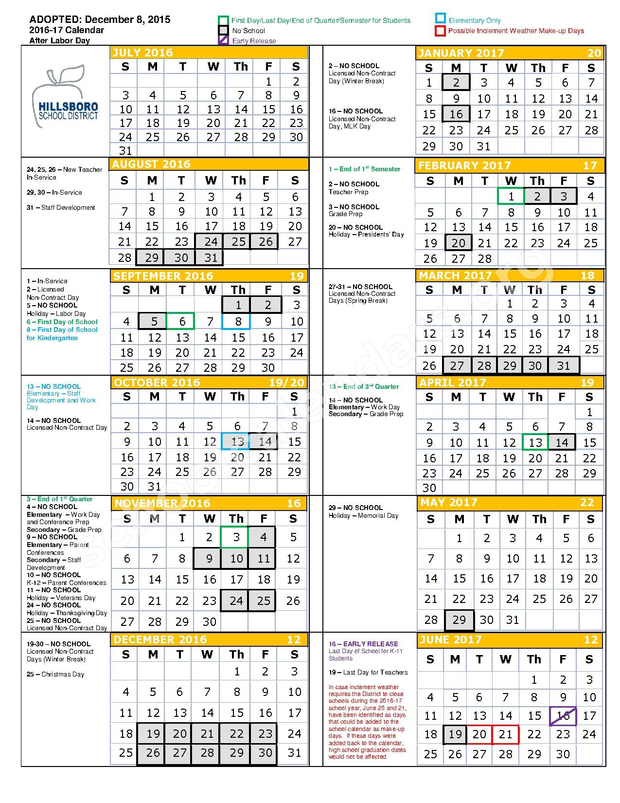2016 - 2017 School Calendar – Hillsboro School District  – page 1