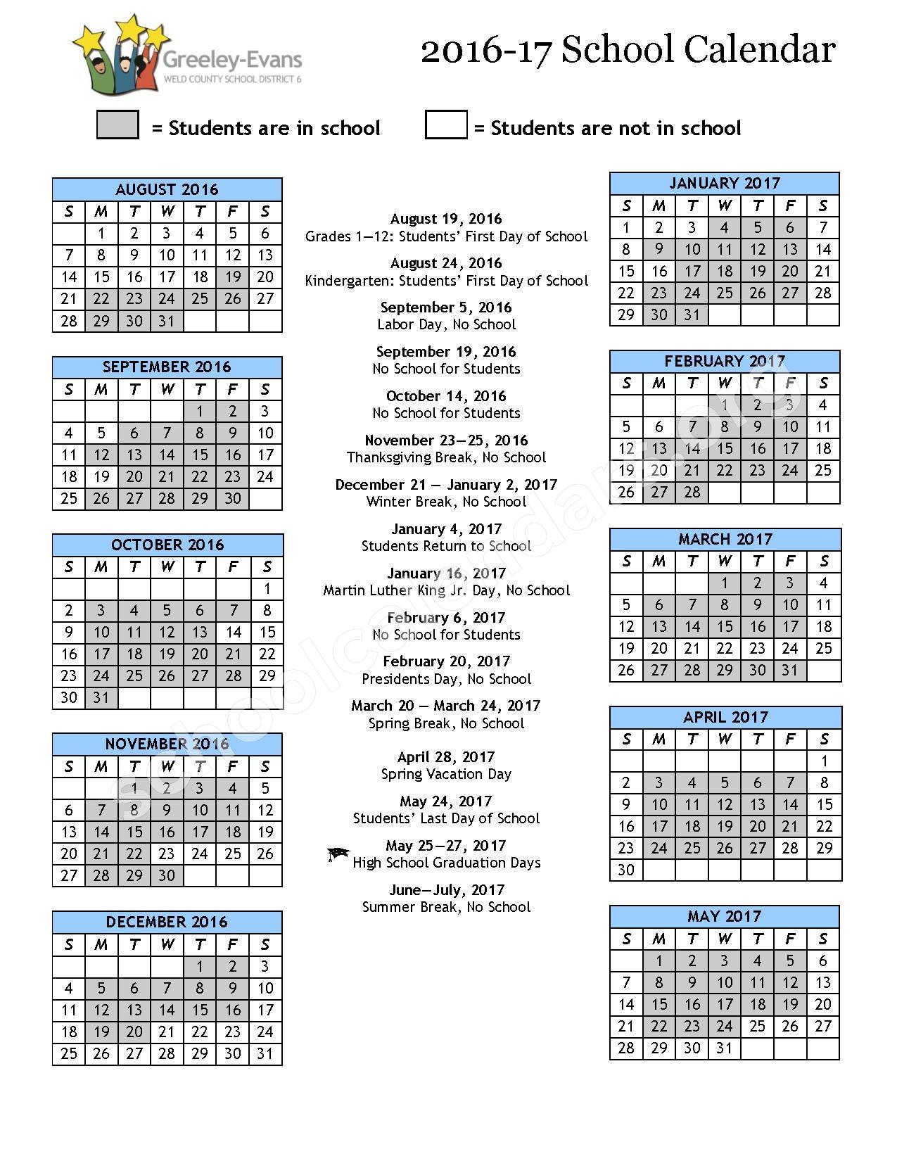 2014 - 2015 School Calendar | Greeley-Evans School District 6 ...