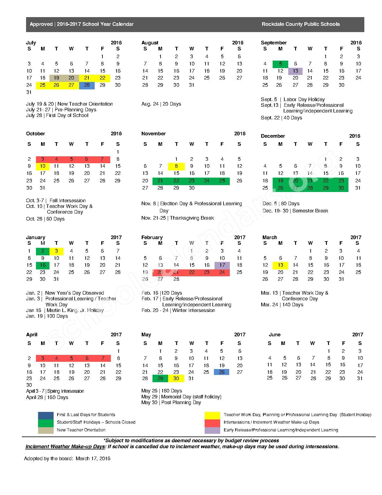 2016 - 2017 School Calendar – Rockdale County School District – page 1