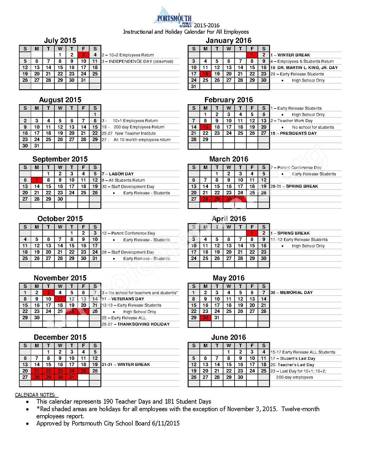 2015 - 2016 School Calendar – Portsmouth Public Schools – page 1