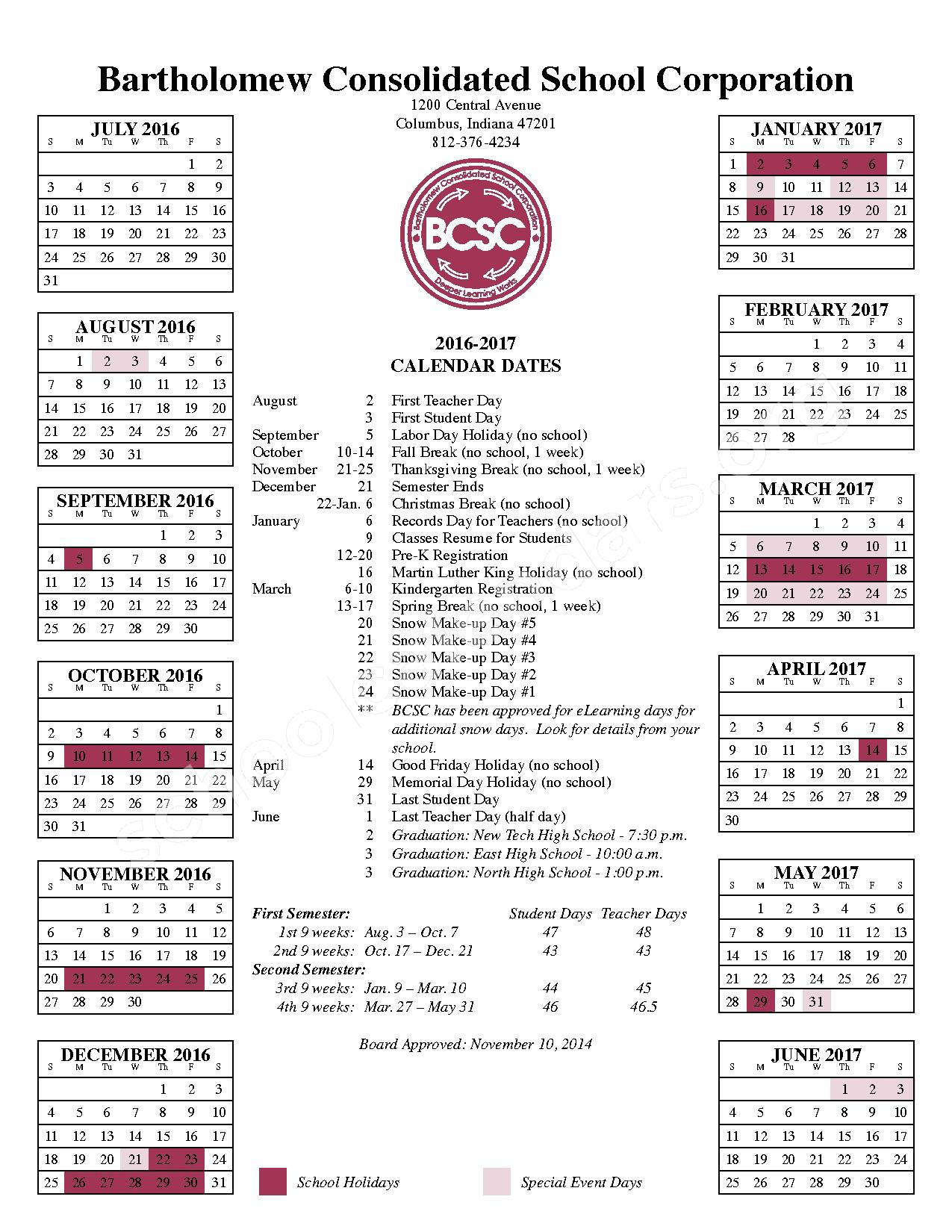 Csa Lincoln Campus Calendars – Columbus, IN