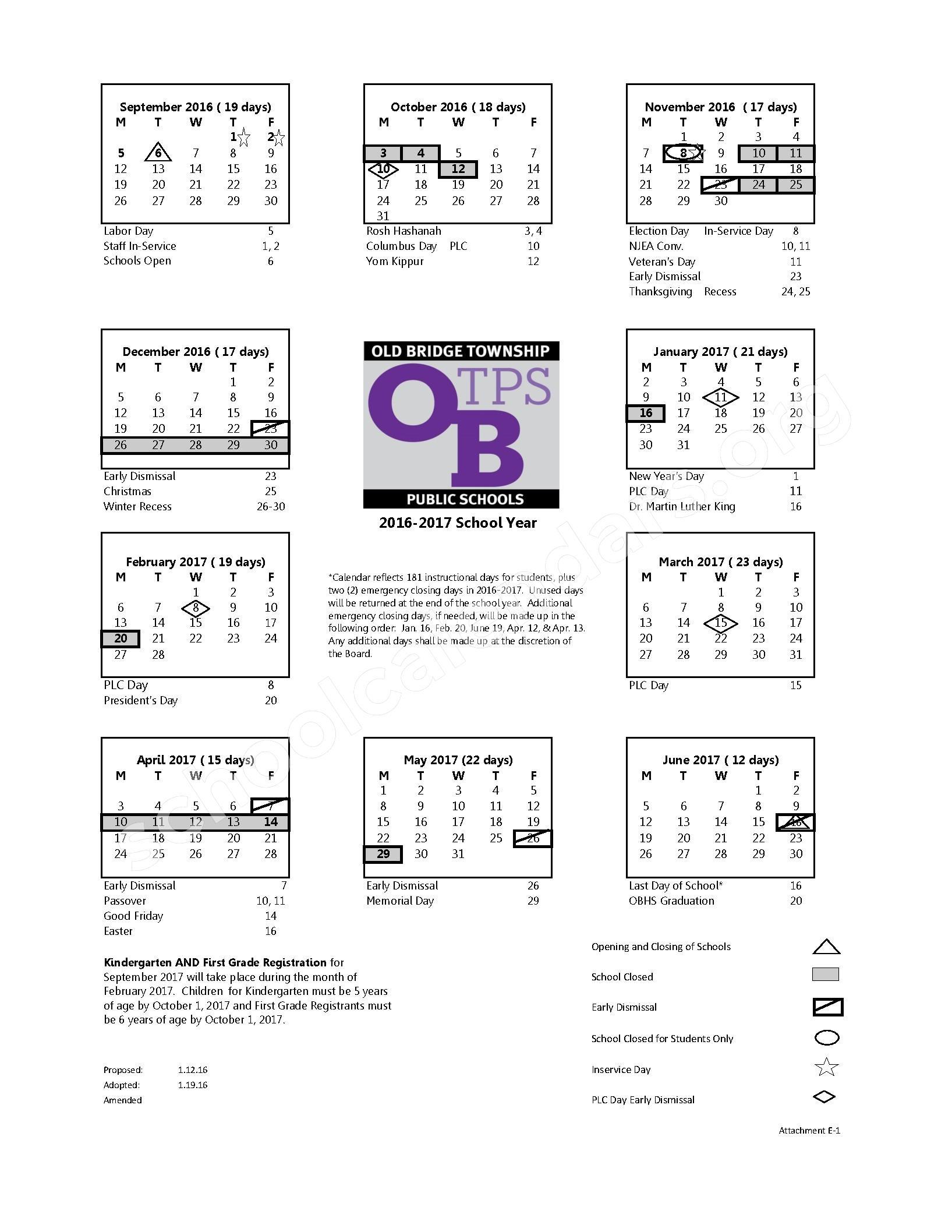 2016 - 2017 District Calendar – Old Bridge Township Public Schools – page 1