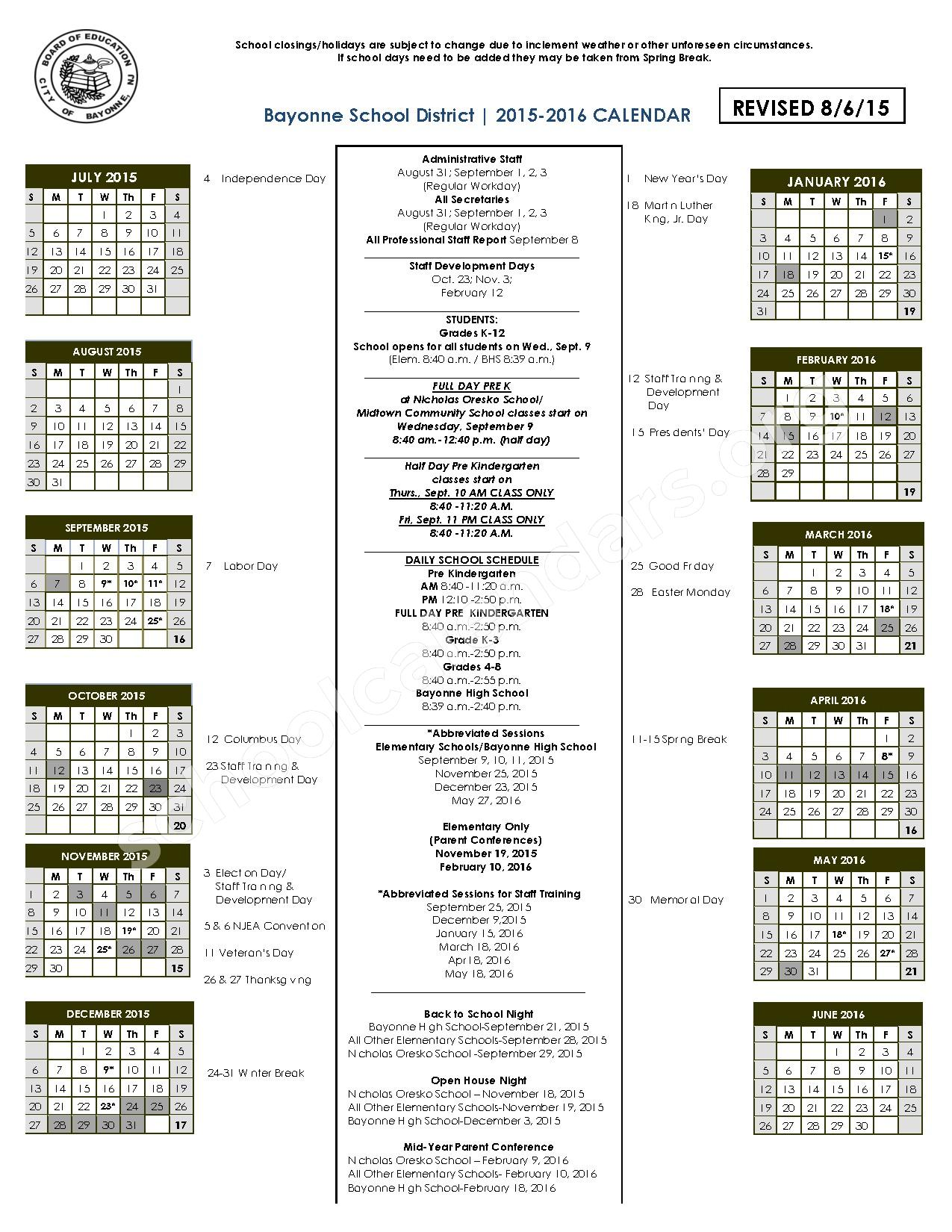 2015 - 2016 District Calendar – Bayonne Board of Education – page 1