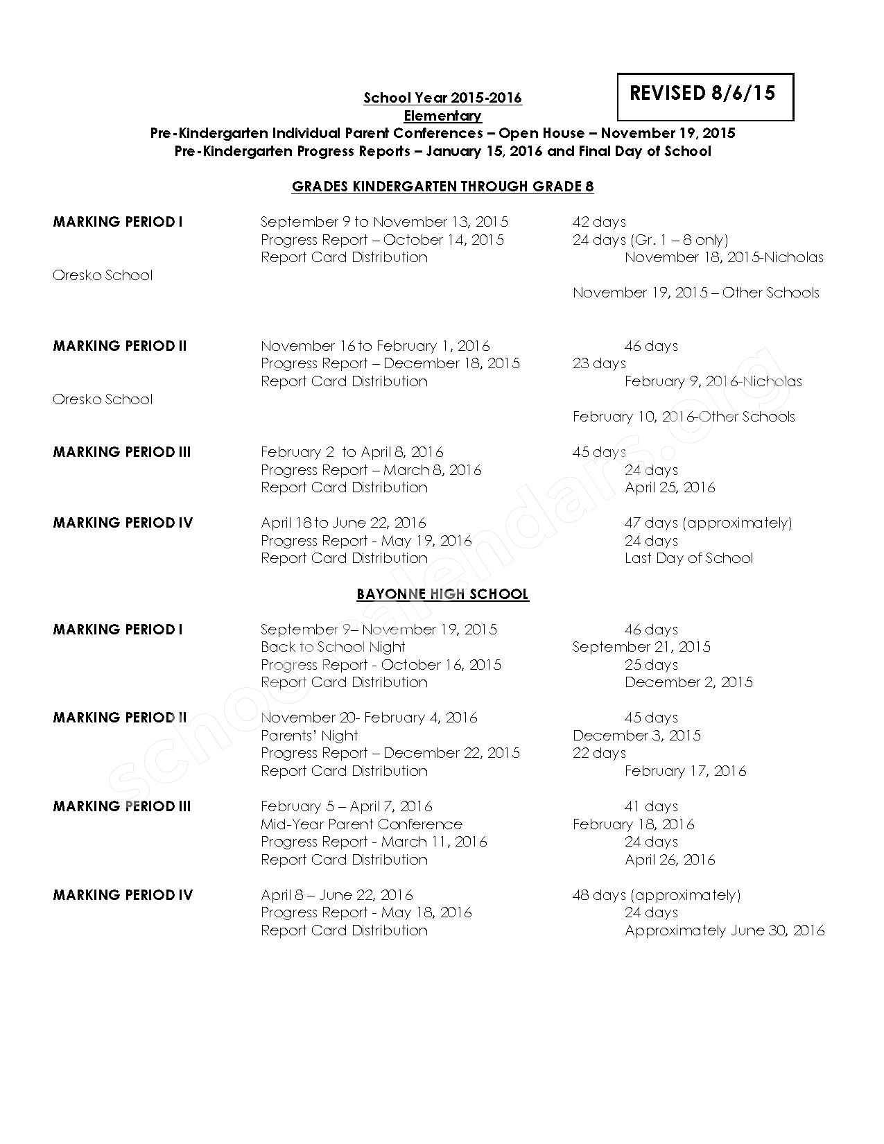 2015 - 2016 District Calendar – Bayonne Board of Education – page 2