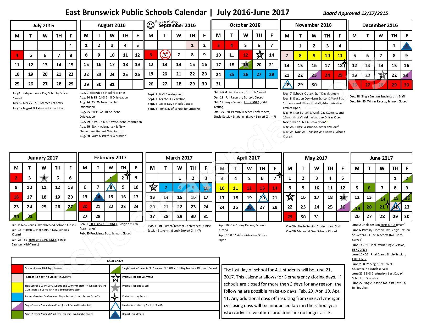 2016 - 2017 School Calendar – East Brunswick Public Schools – page 1
