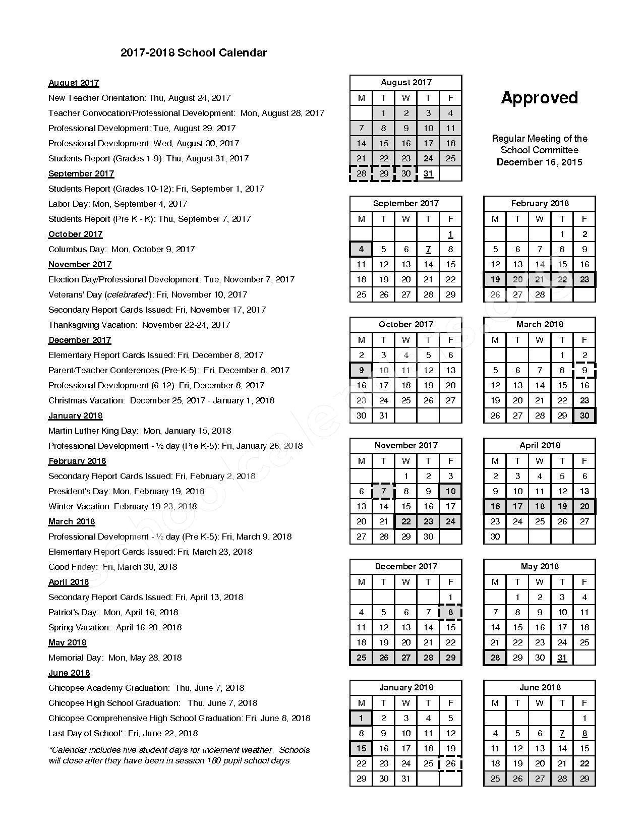 2017 - 2018 School Calendar – Chicopee Public Schools – page 1