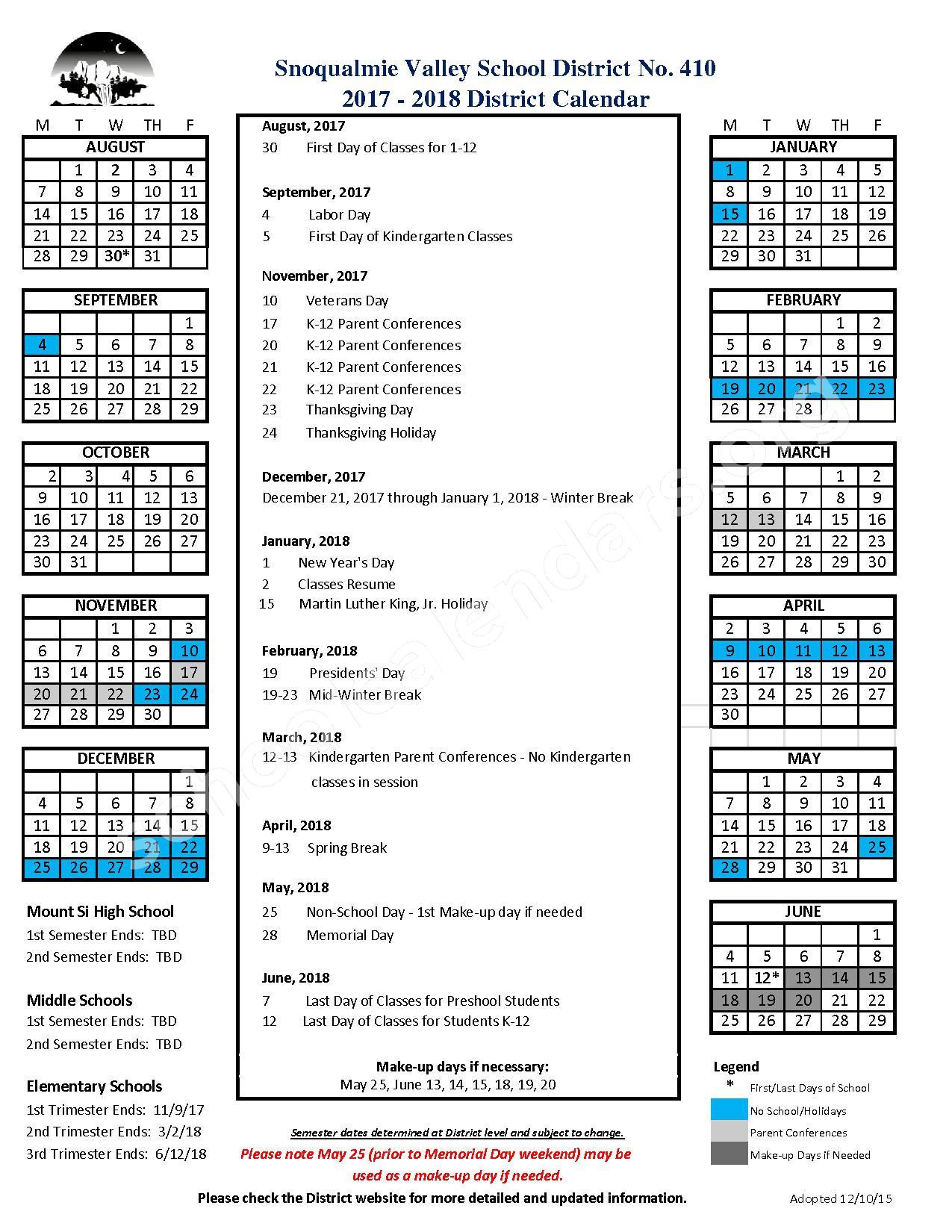 2017-2018 District Calendar – Snoqualmie Valley School District – page 1