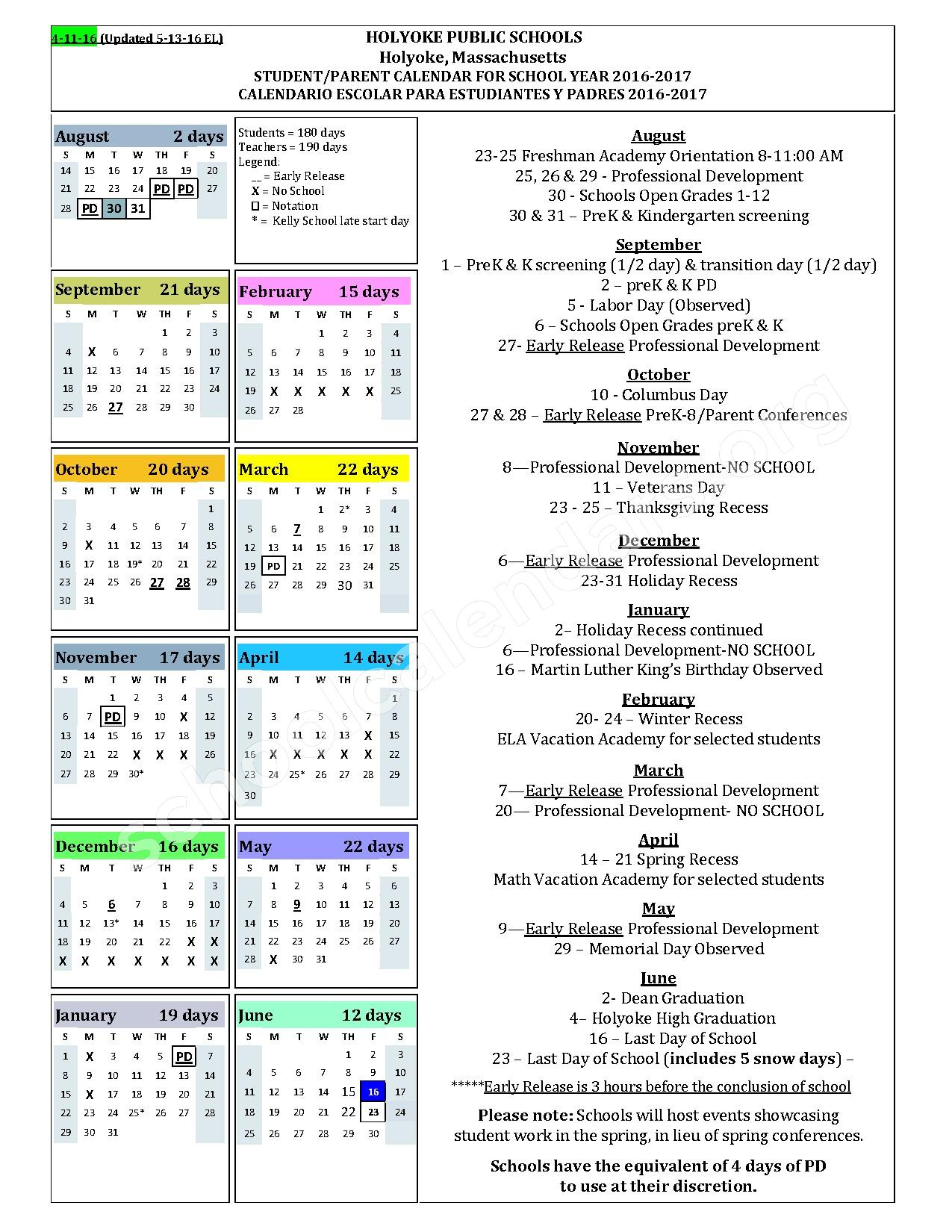 2016 - 2017 District Calendar – Holyoke Public Schools – page 1