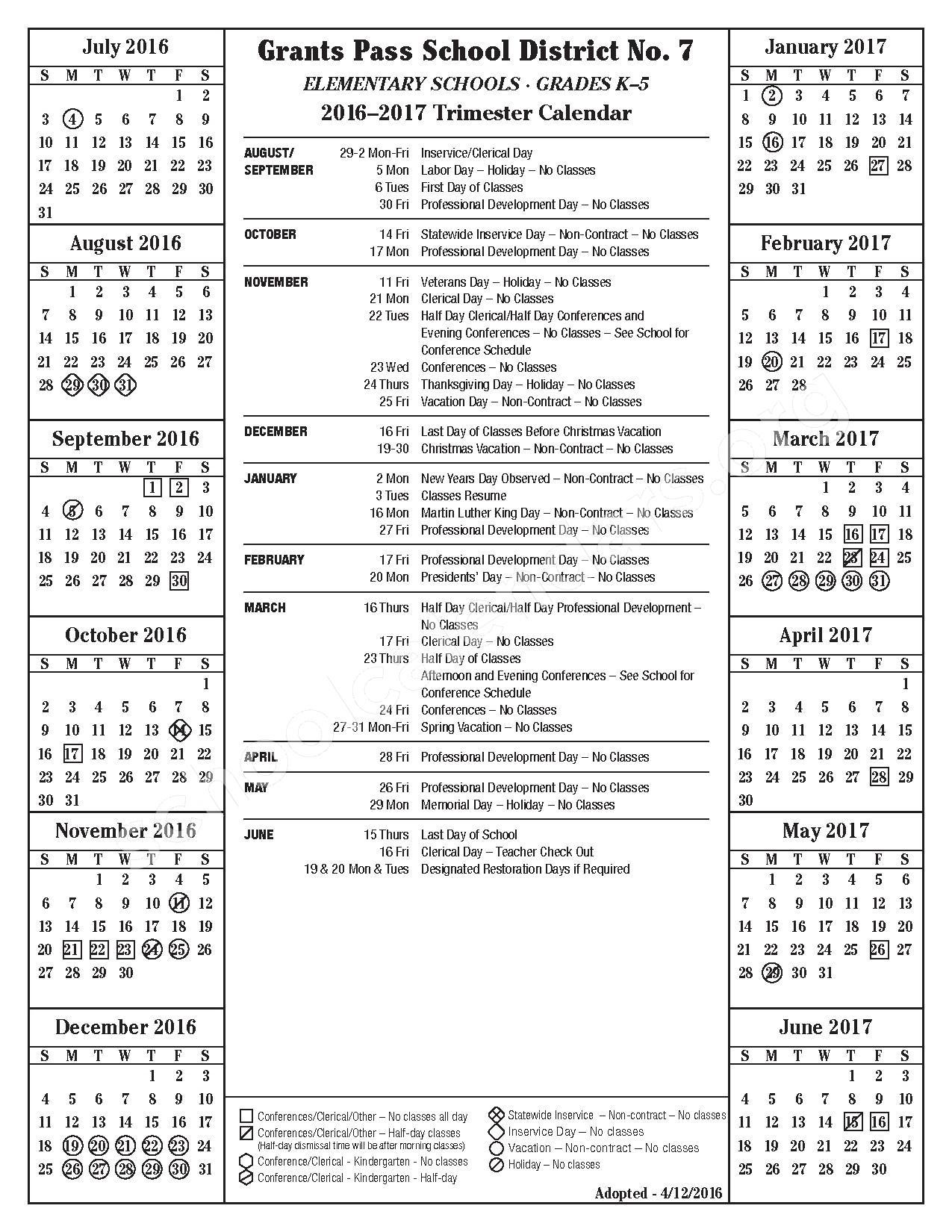 2016 - 2017 School Calendar – Grants Pass School District 7 – page 1