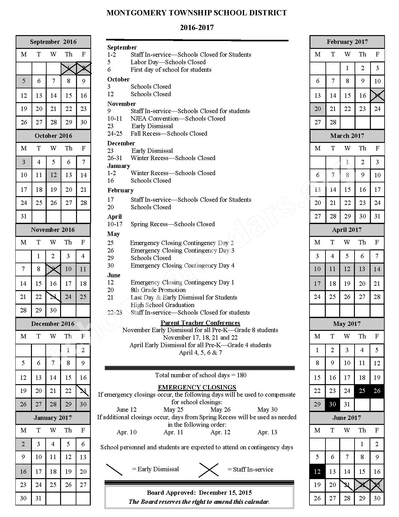 2016 - 2017 District Calendar – Montgomery Township School District – page 1