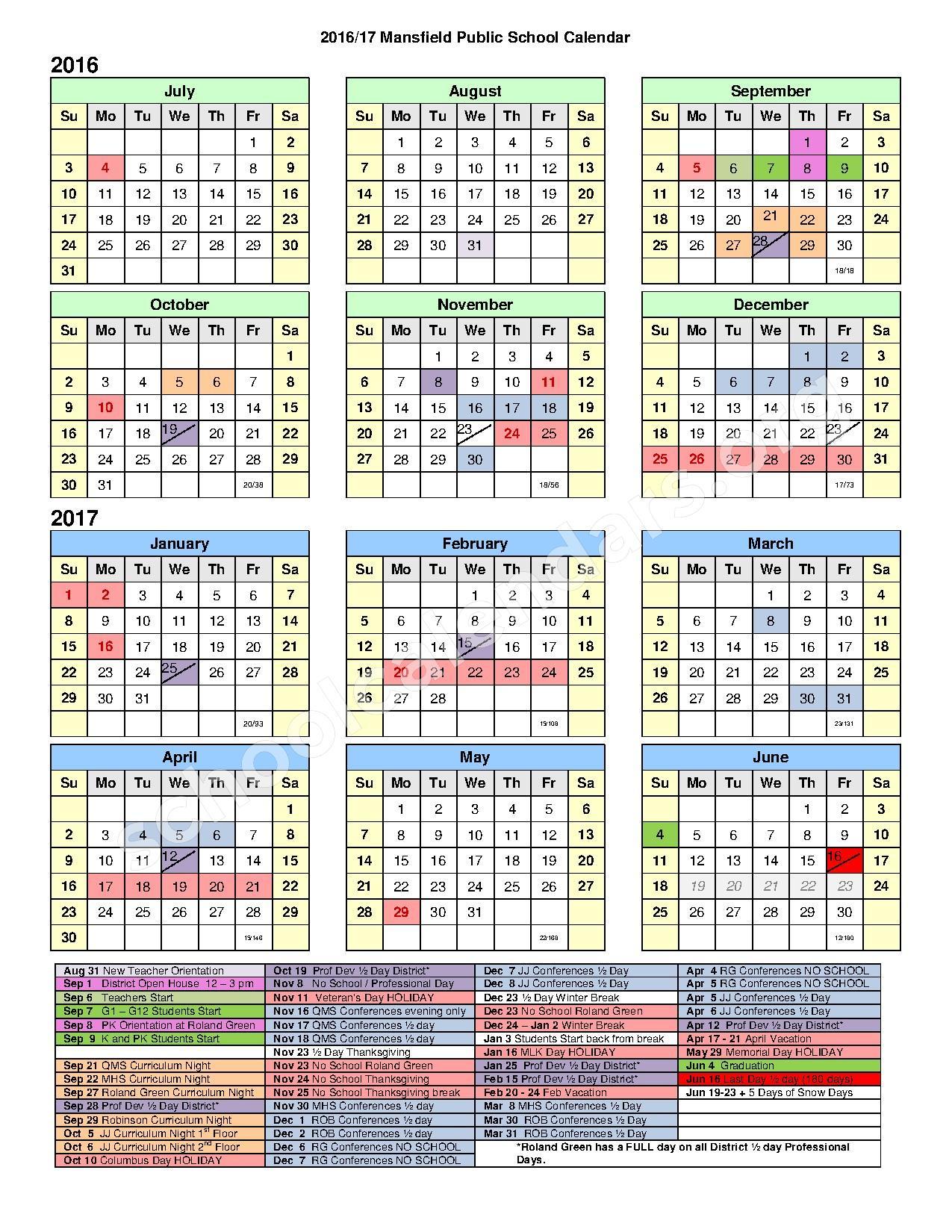 2016 - 2017 School Calendar – Mansfield Public Schools – page 1
