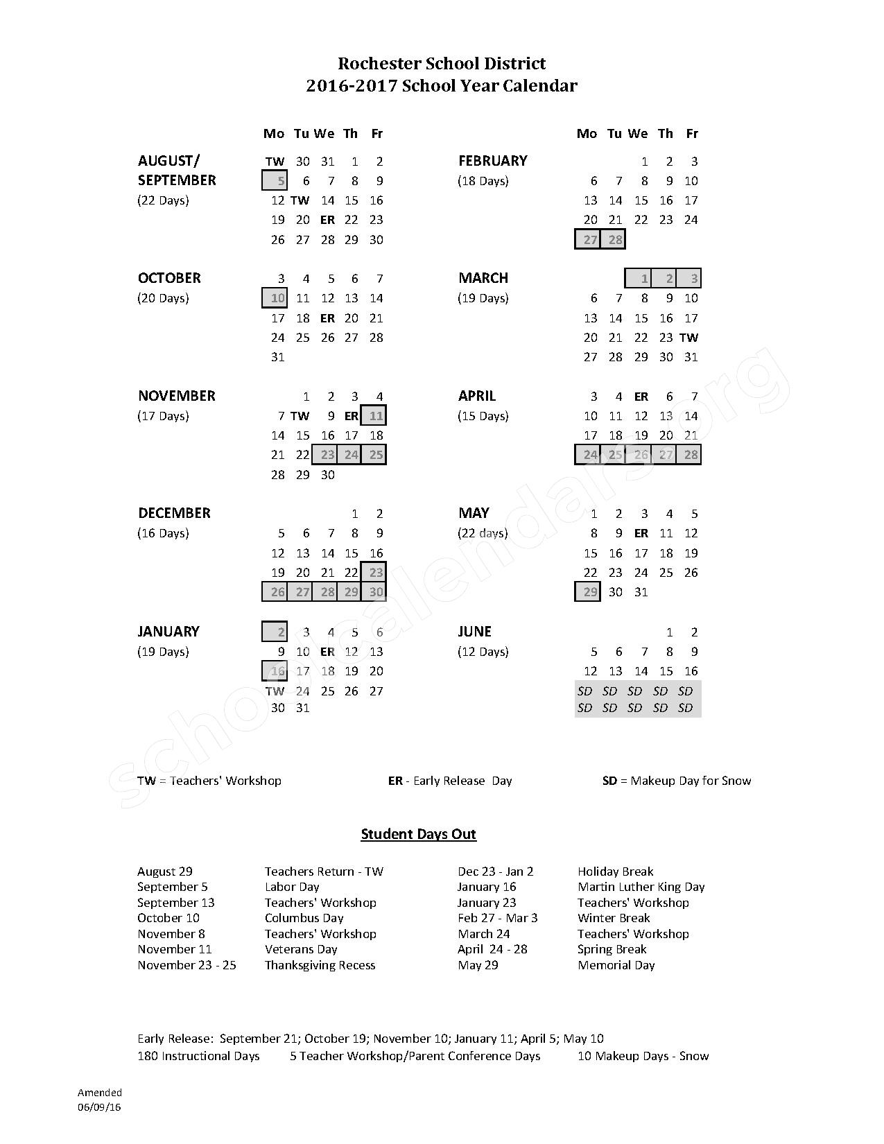 2016 - 2017 District Calendar – SAU 54 - Rochester School District – page 1