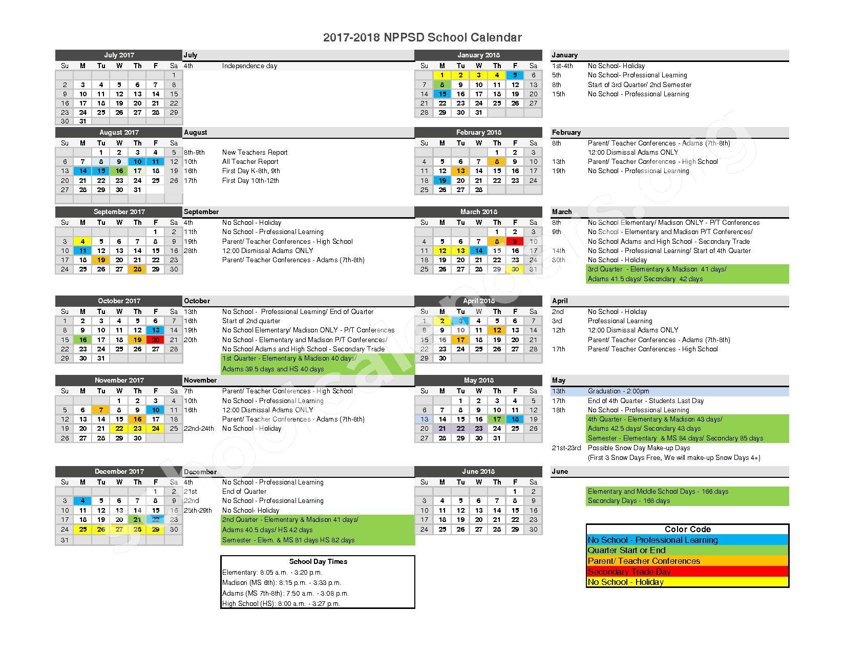 North Platte Public School Calendar 2017 - 2018 – North Platte Public Schools – page 1