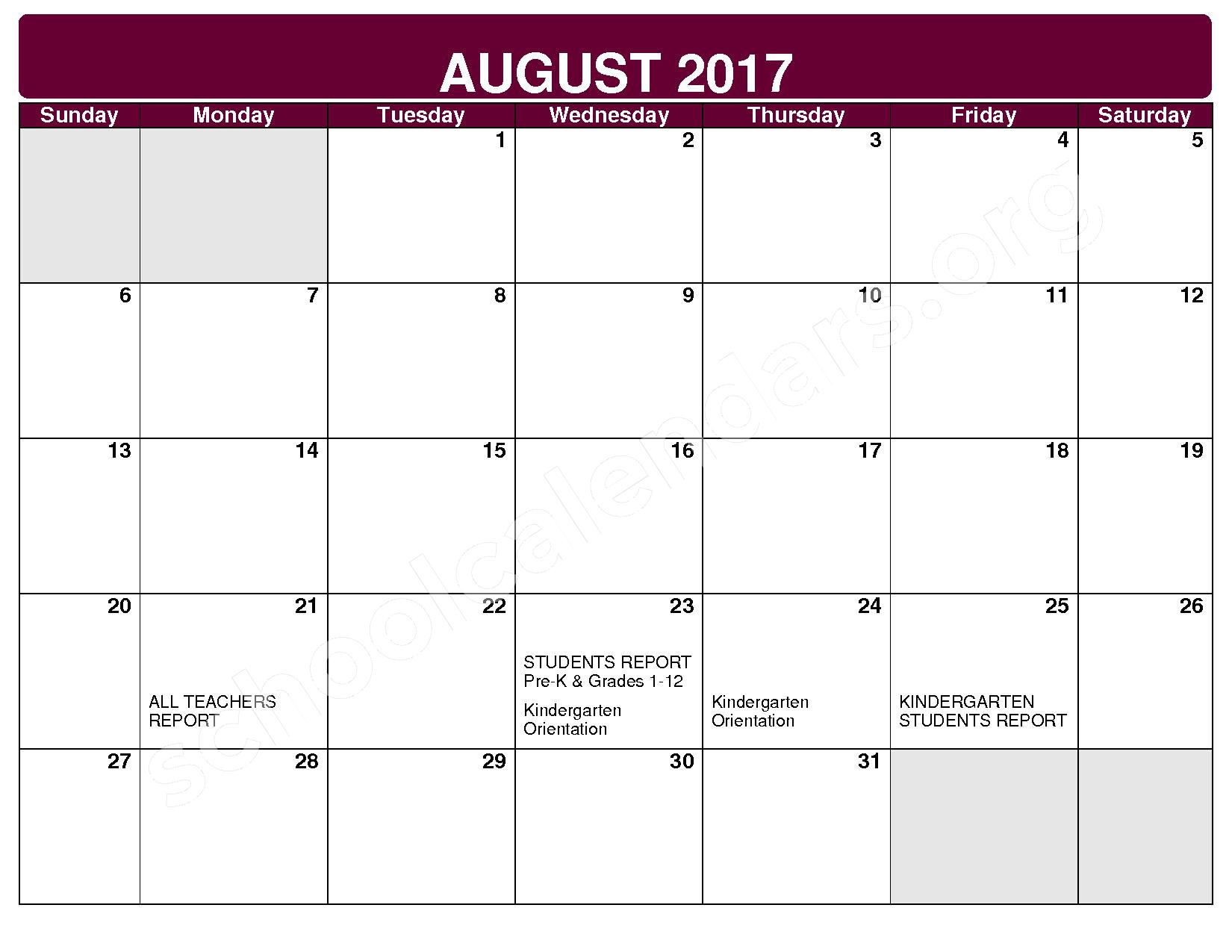 2017 - 2018 District Calendar – Maple Heights City Schools – page 1