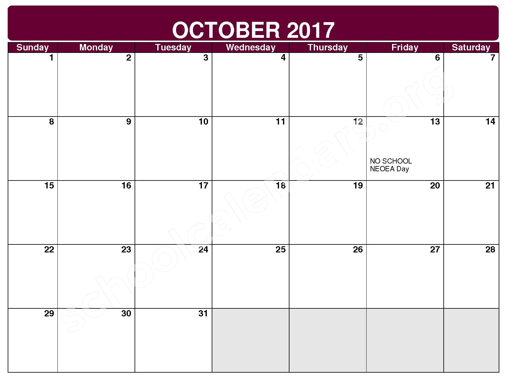 2017 - 2018 District Calendar – Maple Heights City Schools – page 3