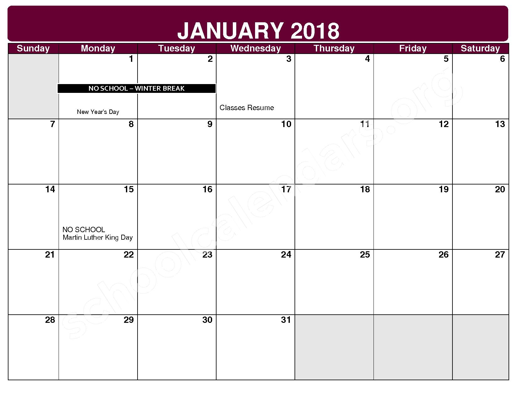 2017 - 2018 District Calendar – Maple Heights City Schools – page 6