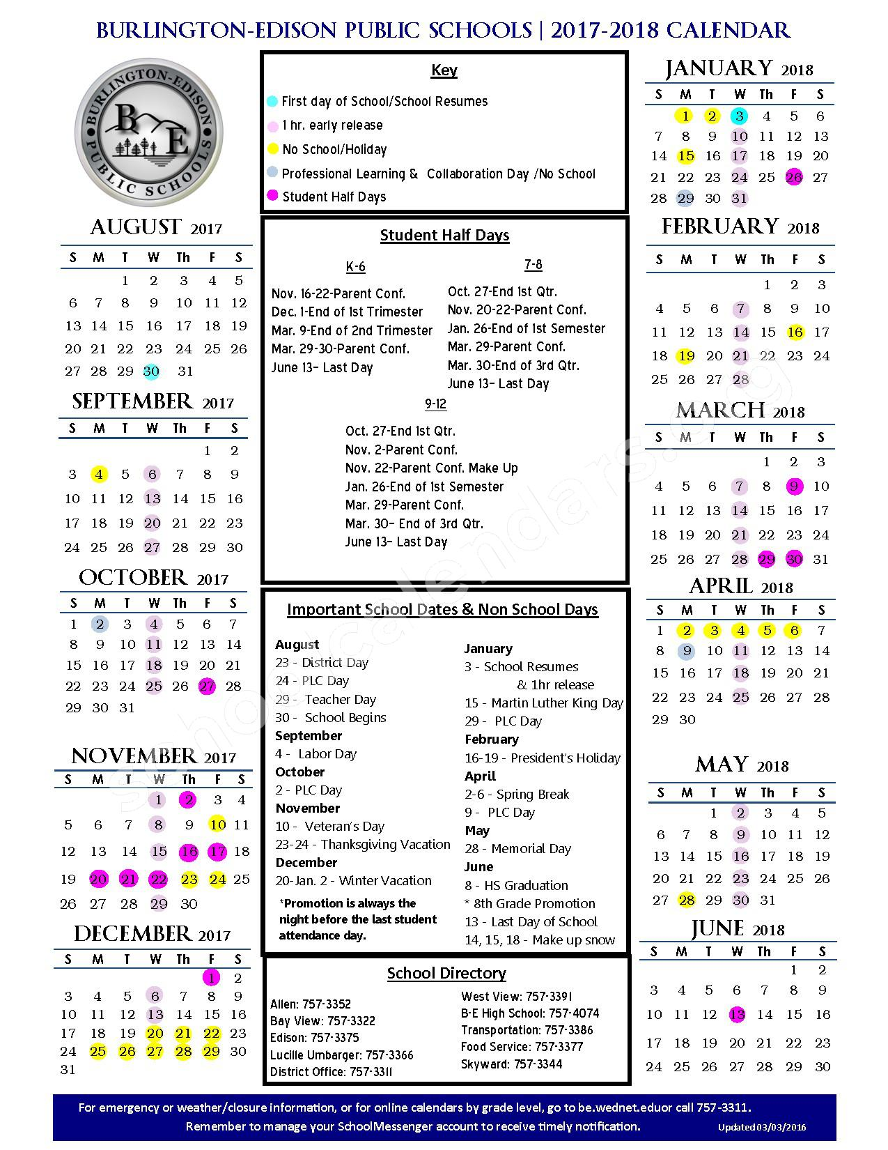 2017 - 2018 School Calendar – Burlington-Edison School District – page 1