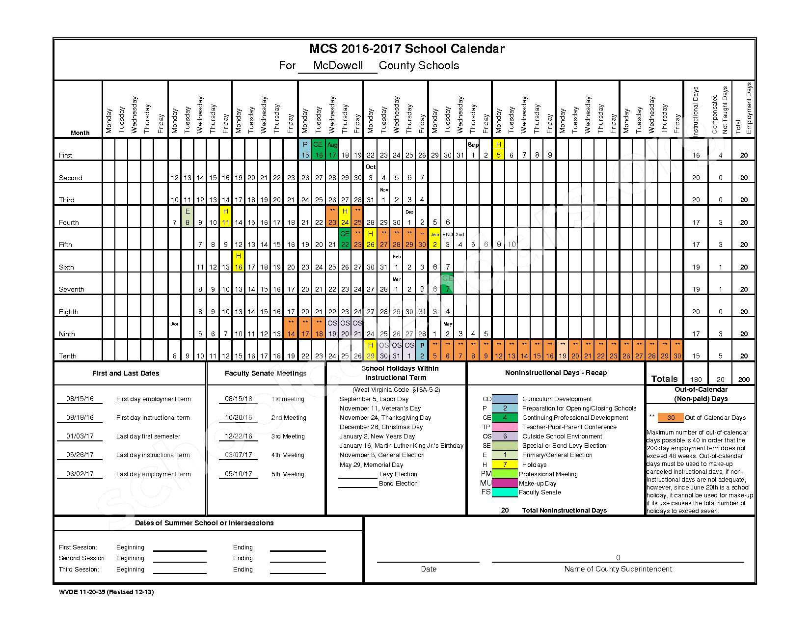 2016 - 2017 District Calendar – McDowell County Schools – page 1