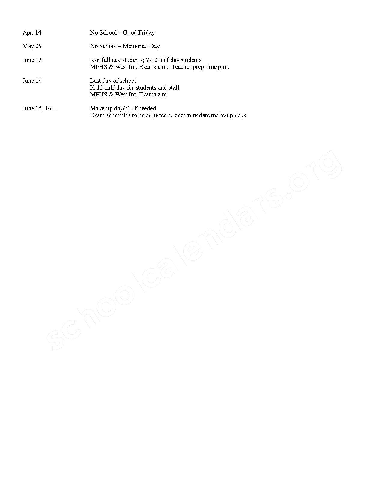 2016 - 2017 MPPS School Calendar – Mount Pleasant Public Schools – page 2