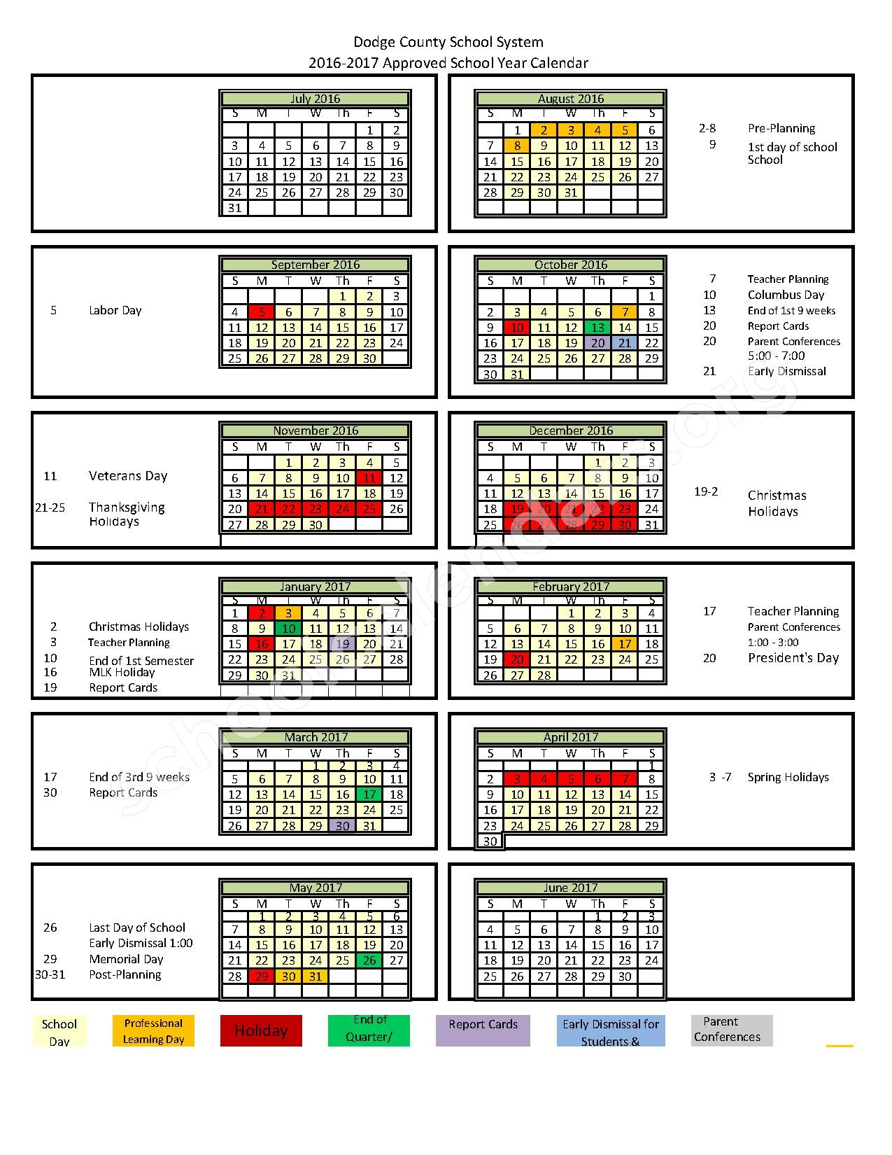 2016 - 2017 District Calendar – Dodge County School District – page 1