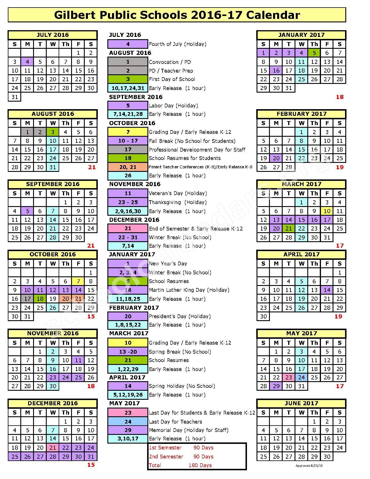 Gilbert Public Schools Calendar 2021-2022 gilbert school district calendar