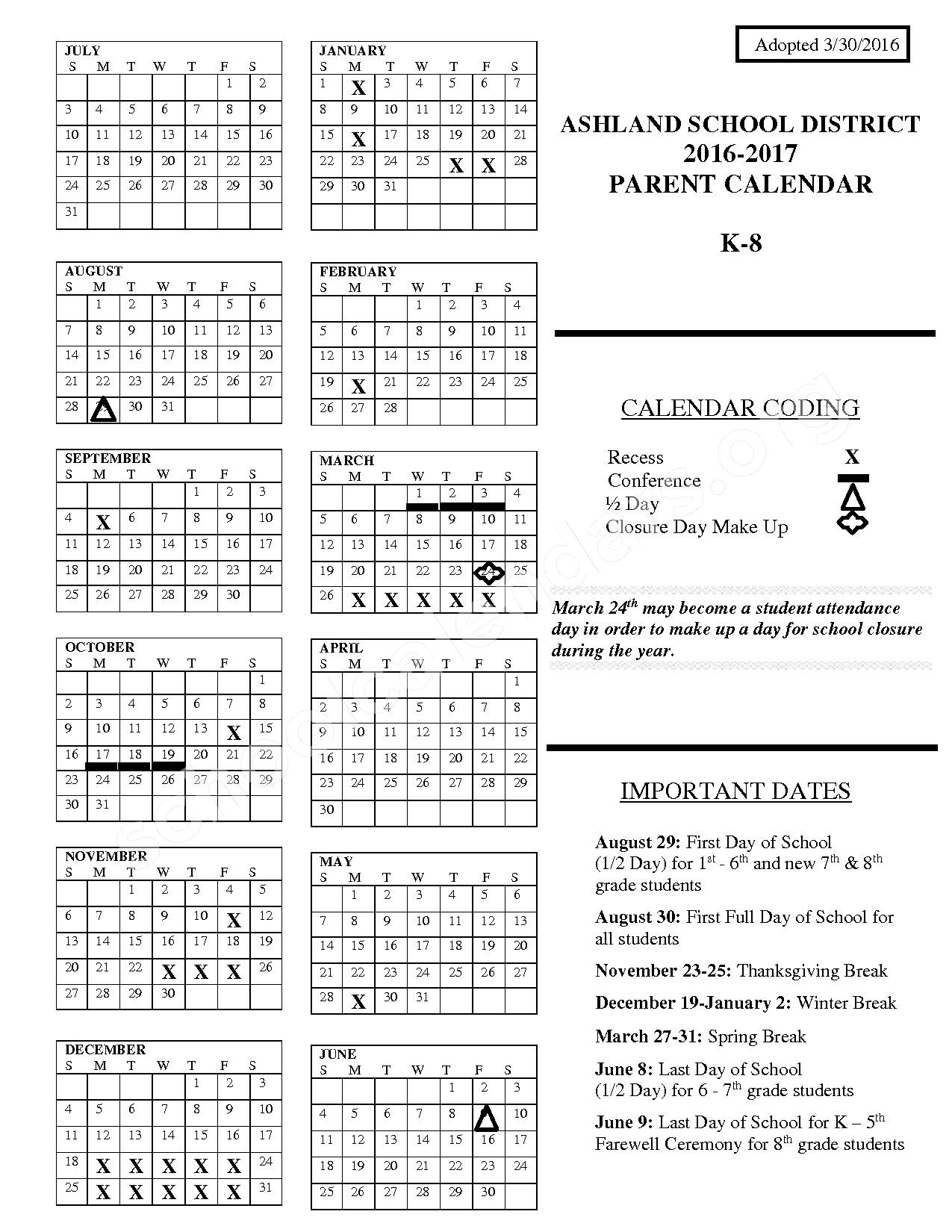 2016 - 2017 District Calendar K - 8 – Ashland School District – page 1