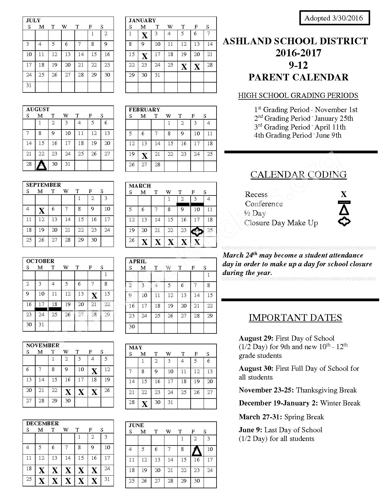 2016 - 2017 District Calendar Grade 9 - 12 – Ashland School District – page 1