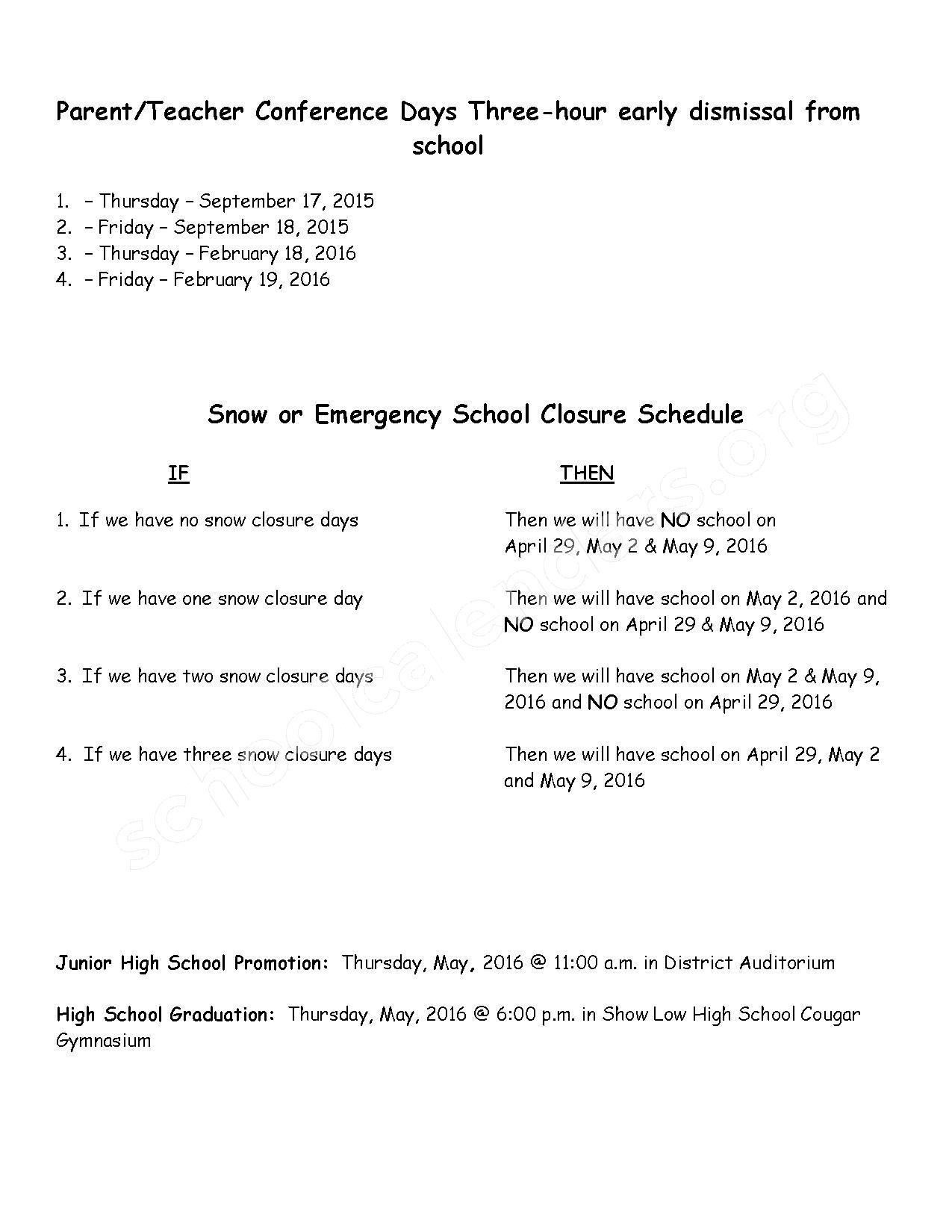 2015 - 2016 District Calendar – Corunna Public School District – page 2
