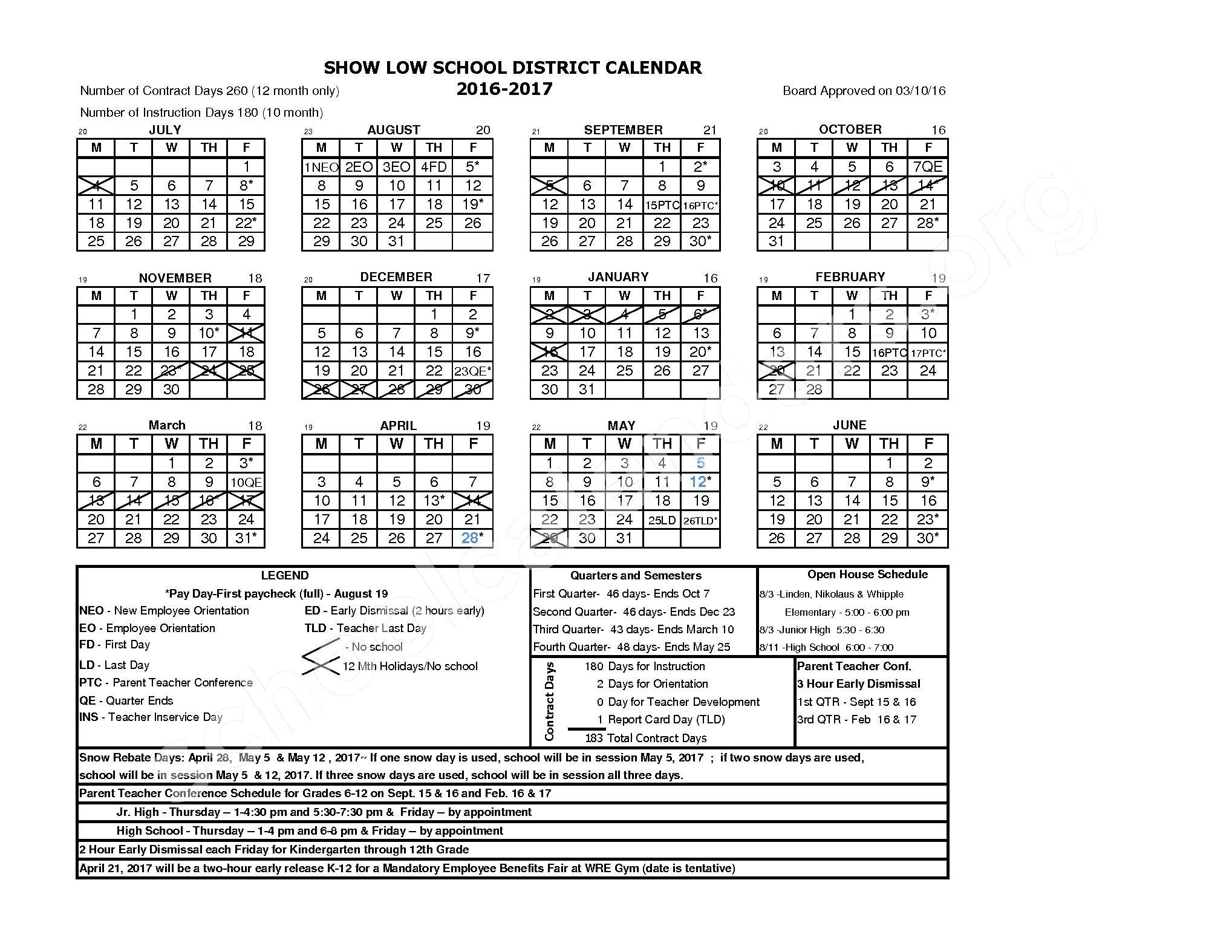 2016 - 2017 District Calendar – Corunna Public School District – page 1