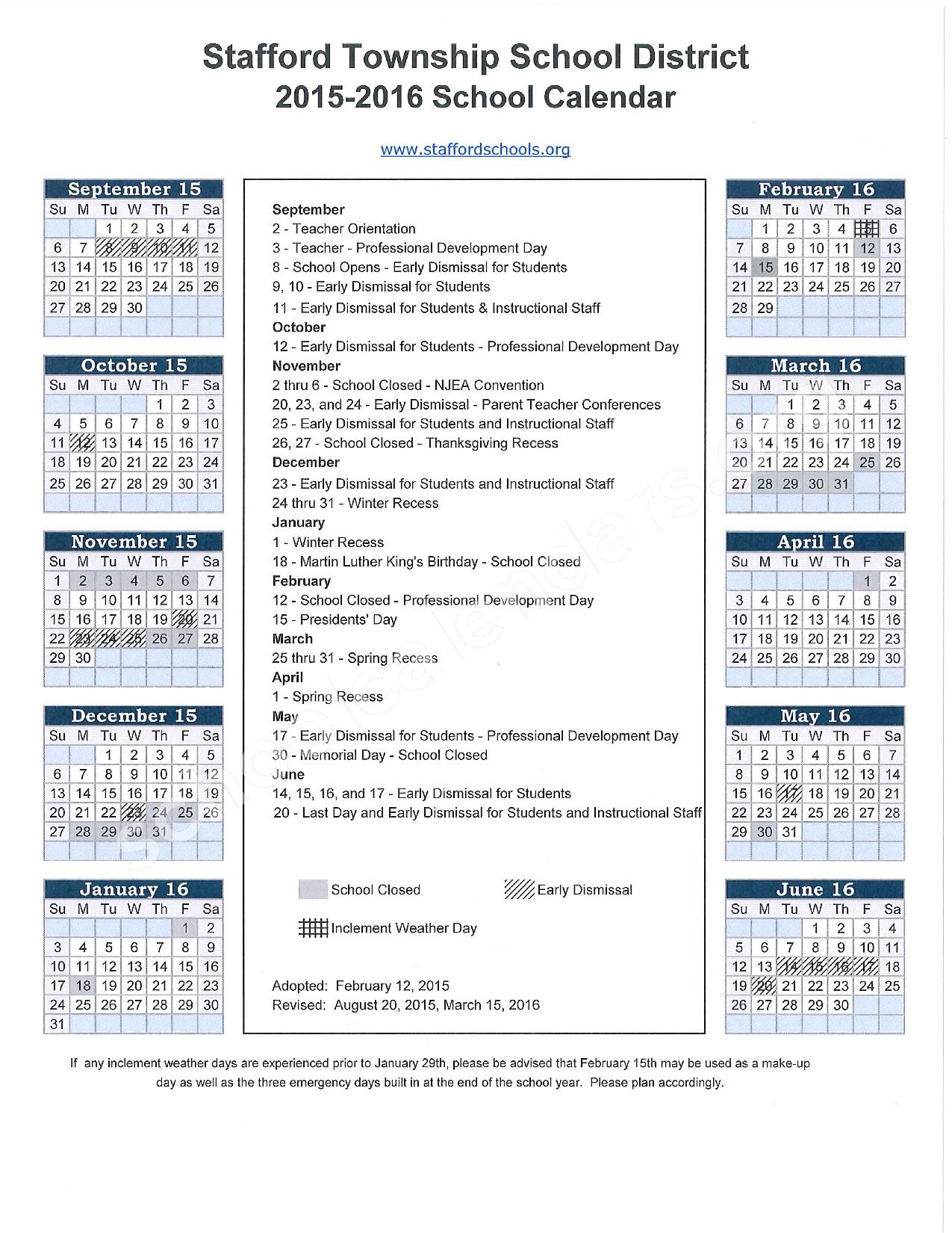 2015 - 2016 School Calendar – Stafford Township School District – page 1