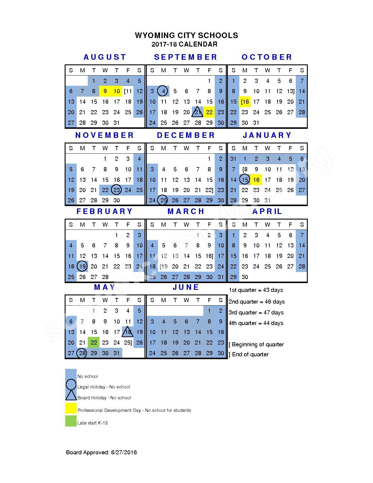 2017 - 2018 District Calendar – Wyoming City Schools – page 1