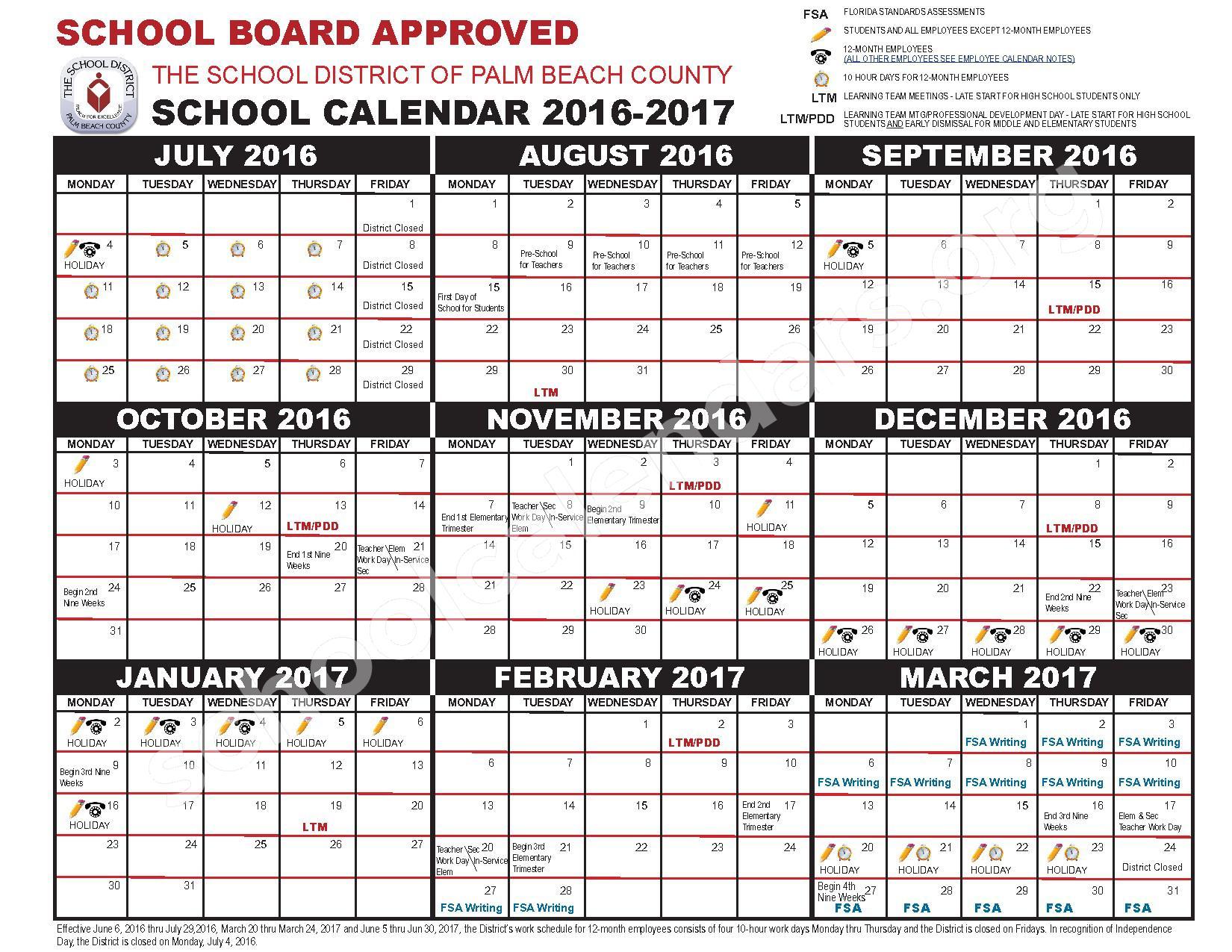 West Palm Beach County School Calendar