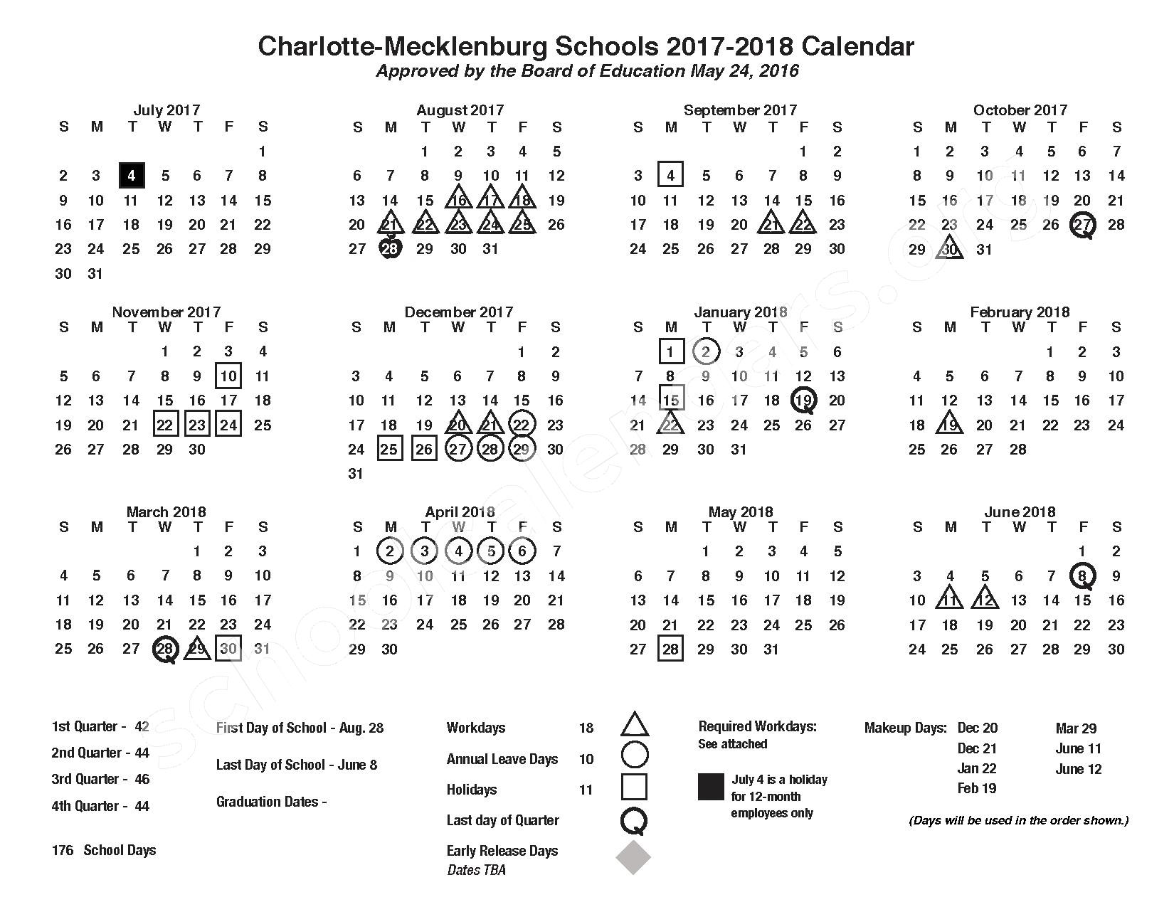 Charlotte-Mecklenburg Schools Calendars – Charlotte, NC
