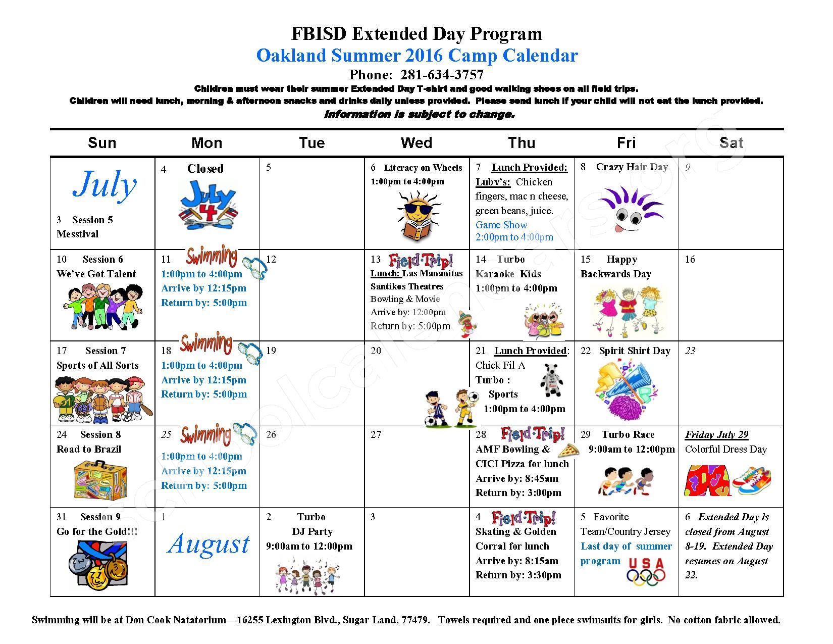 Summer 2016 Oakland Elementary Calendar