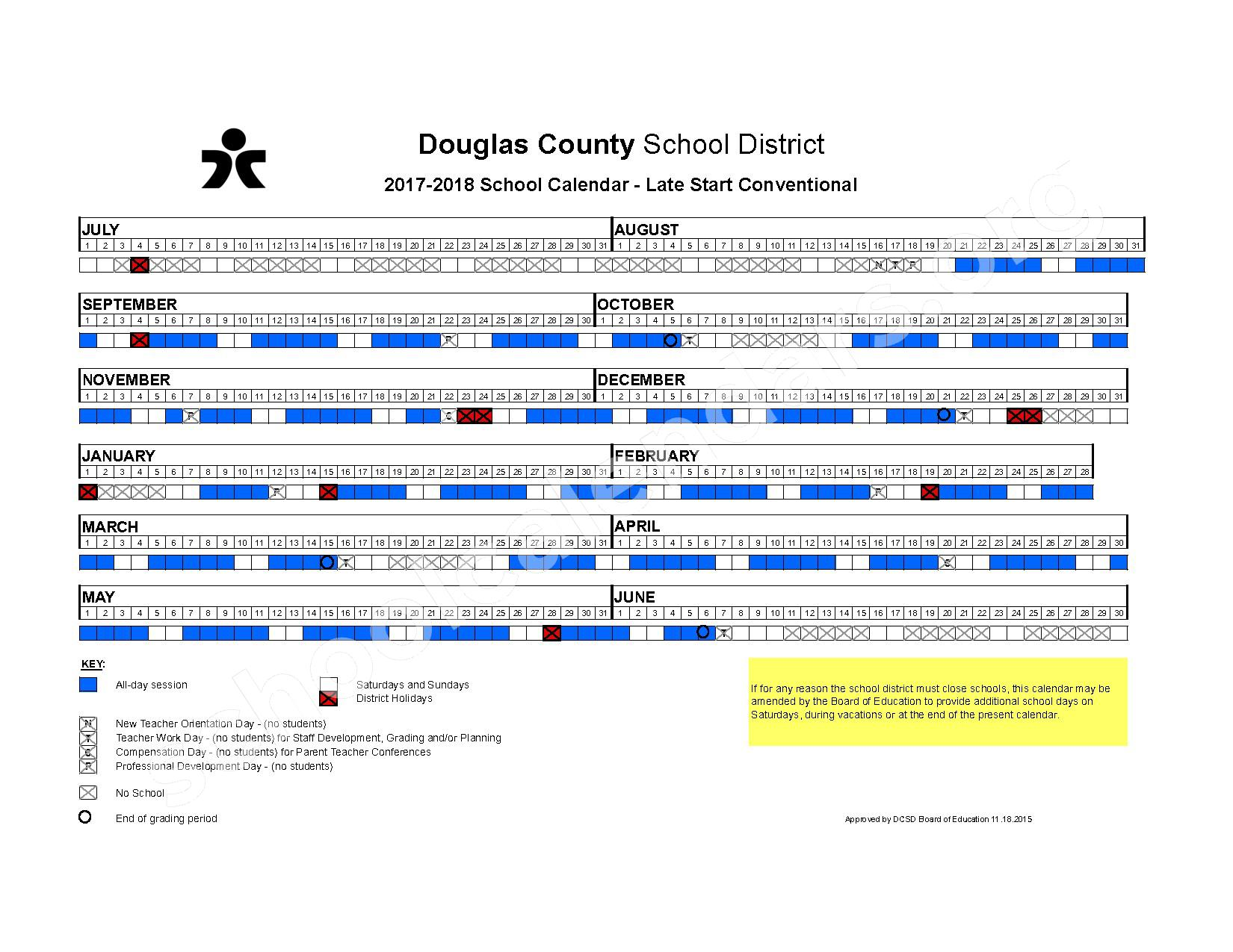 2017 - 2018 Conventional Late Start Calendar – Douglas County School District – page 1