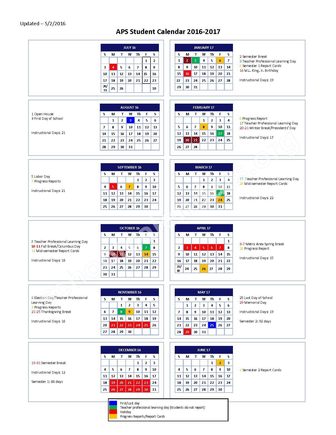 2016 - 2017 School Calendar – Atlanta Public Schools – page 1
