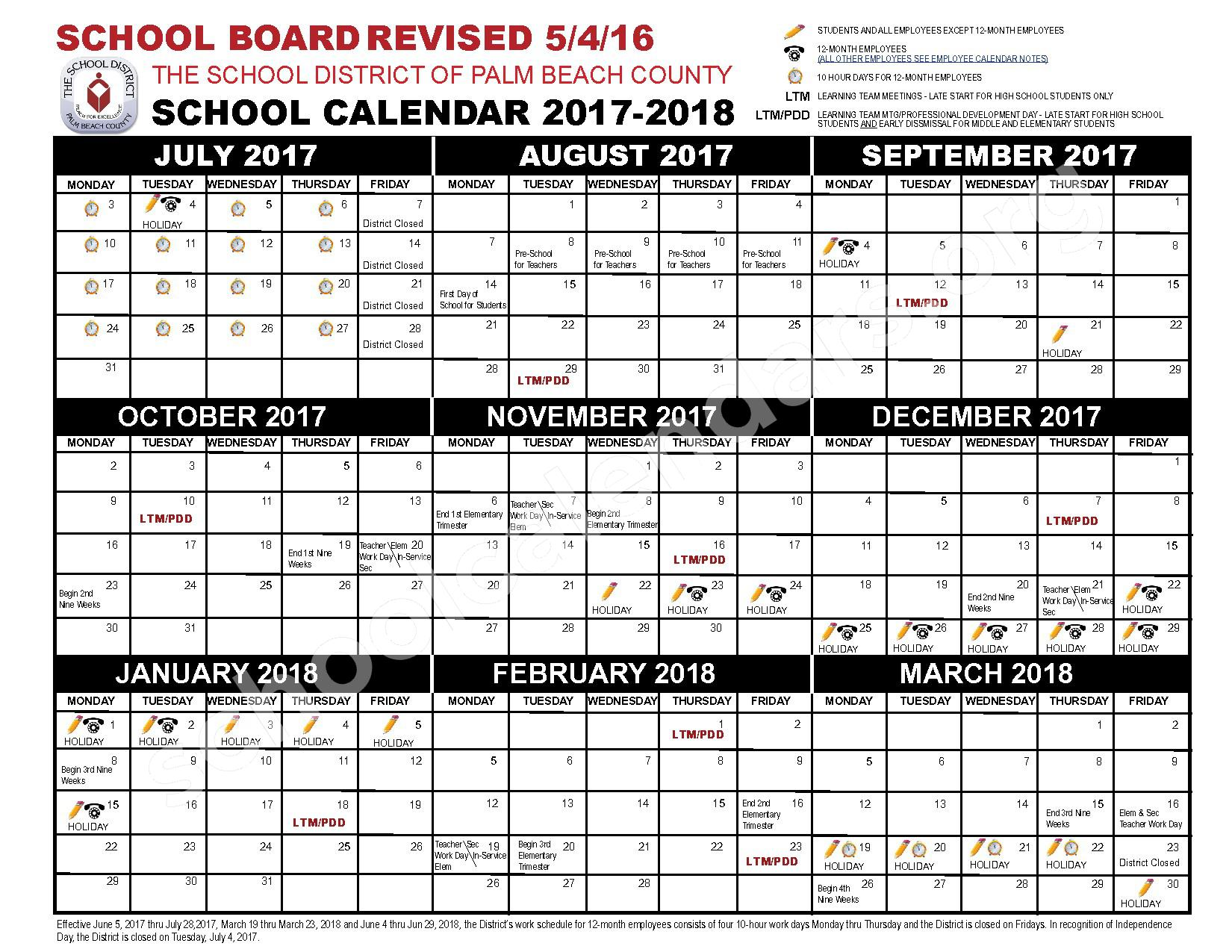 West Palm Beach Fl School District Calendar