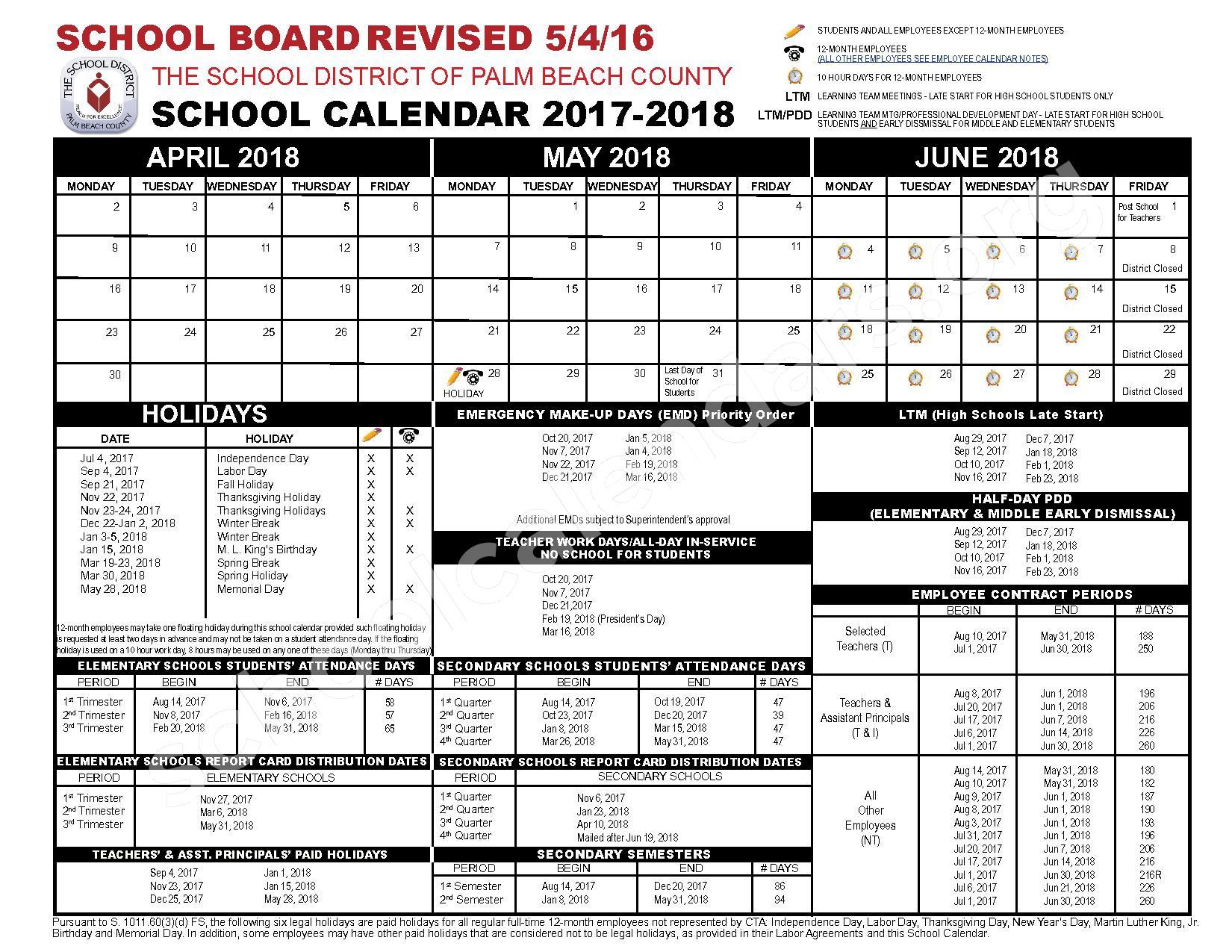 2017 - 2018 School Calendar – Palm Beach County School District – page 2