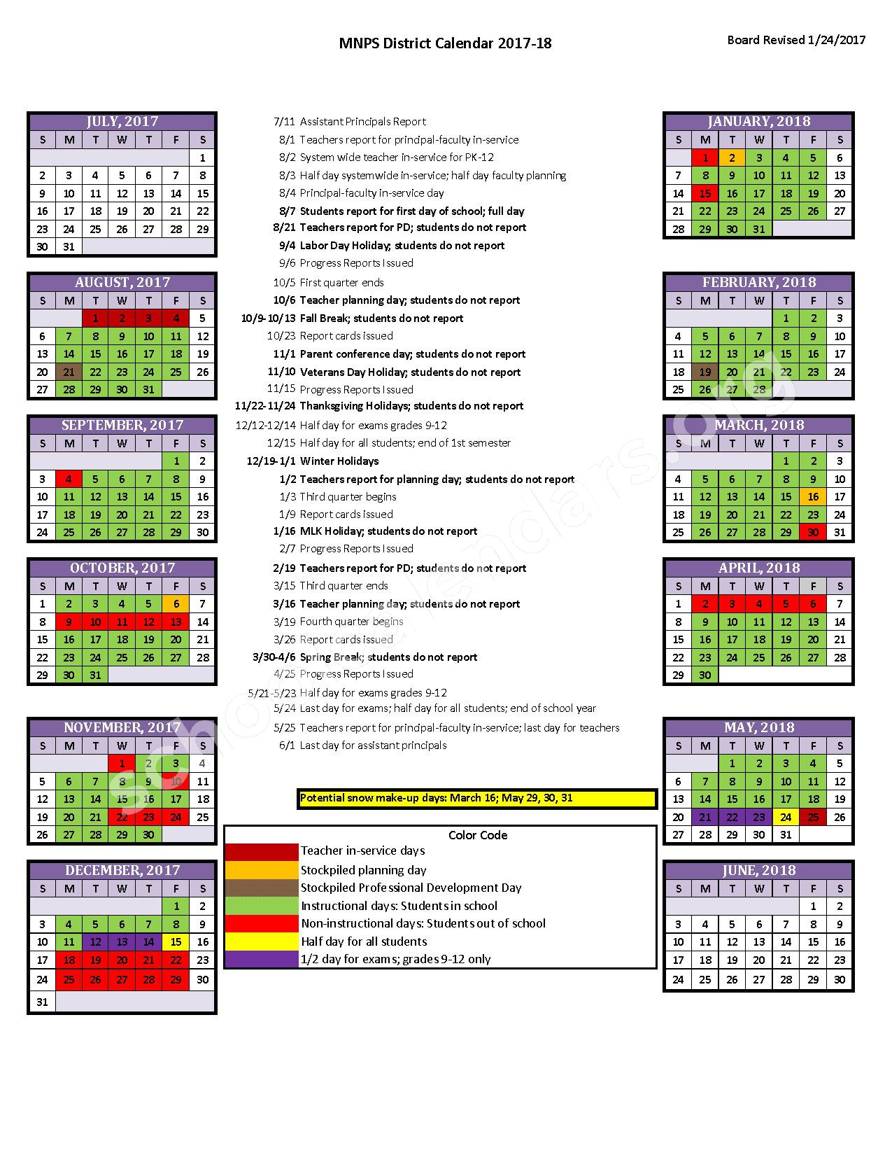 2017 2018 District Calendar Davidson County Schools Metropolitan Nashville Public Schools