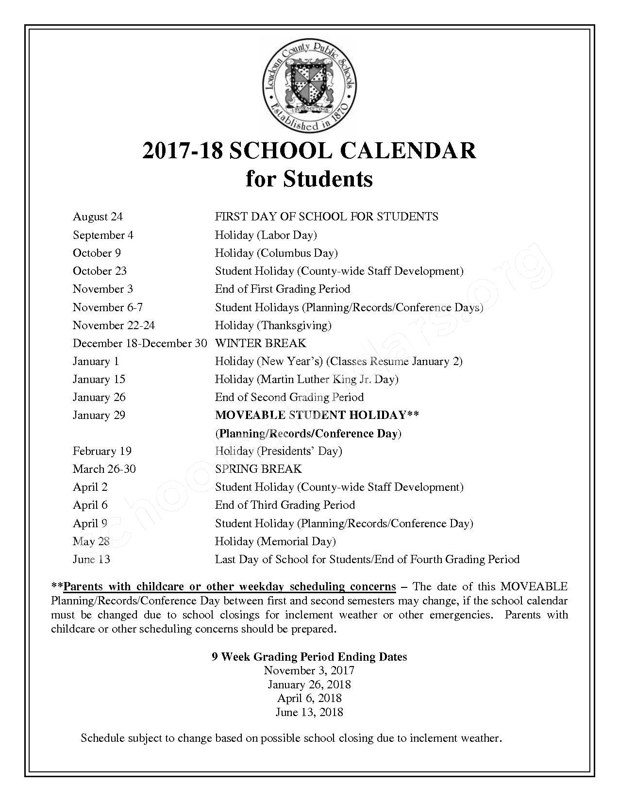 2017 - 2018 Student Calendar – Loudoun County Public Schools – page 1