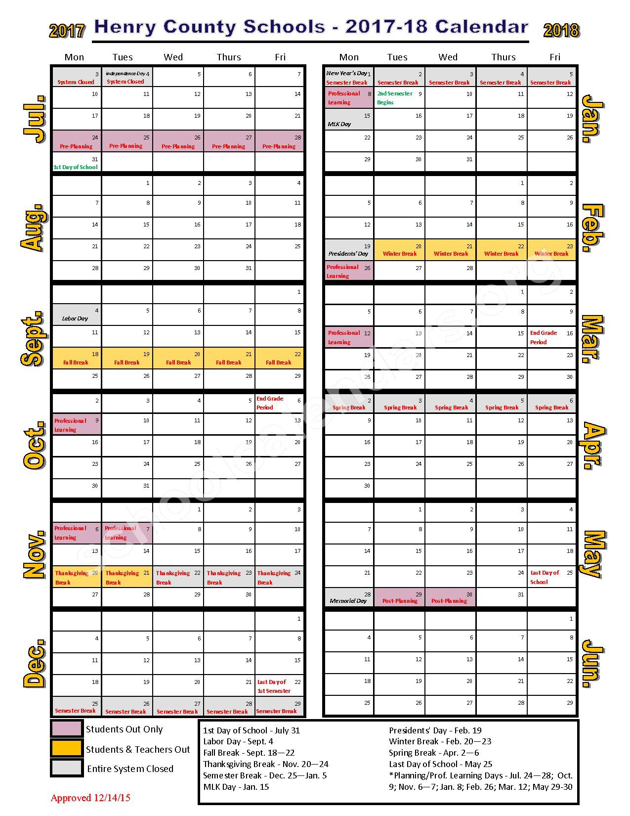 2017 - 2018 School Calendar – Henry County School District – page 1