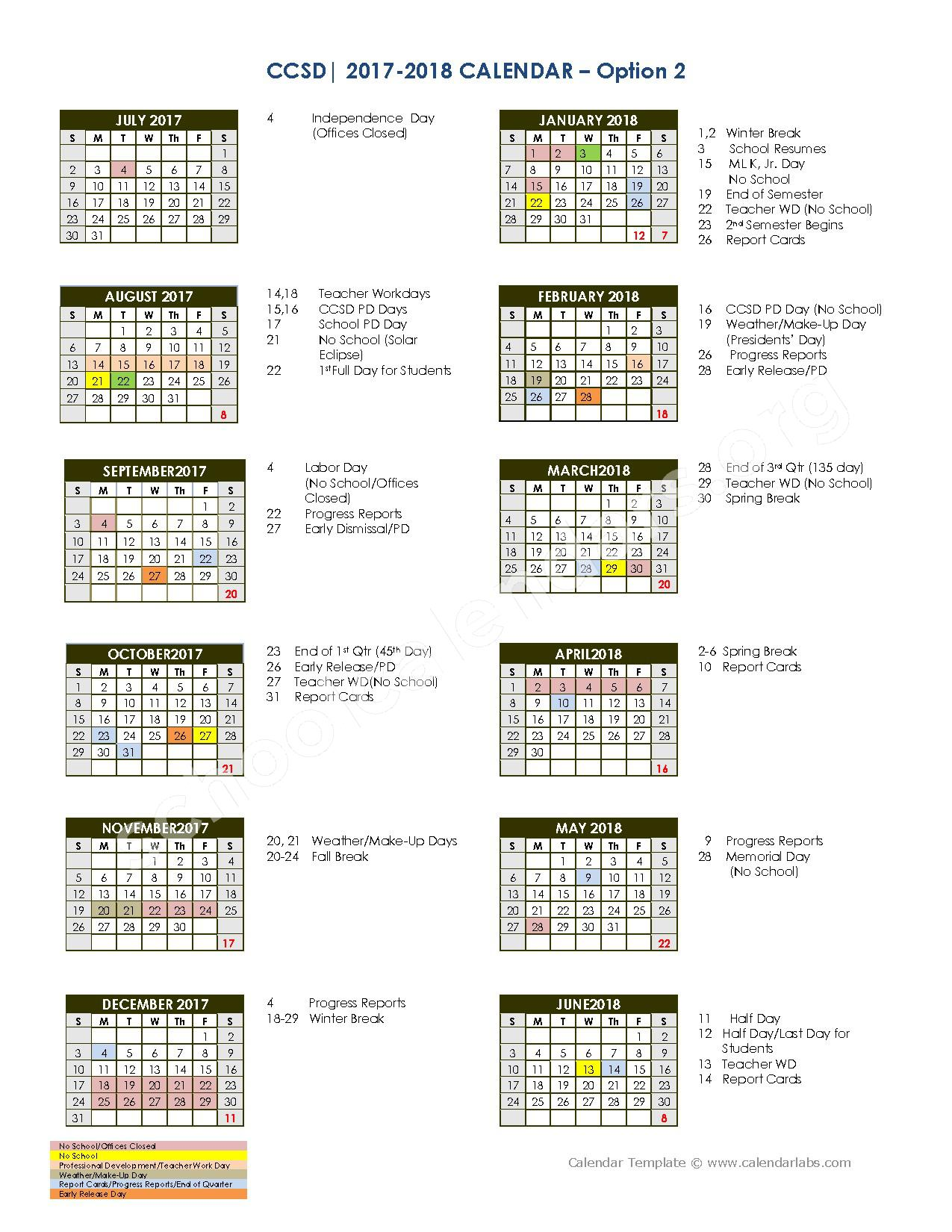 2017 - 2018 School Calendar – Charleston County School District  – page 1