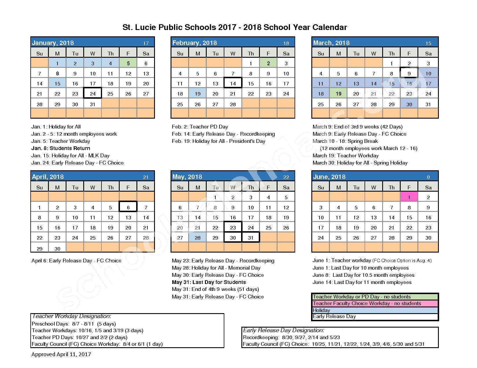 2017 - 2018 School Calendar – St. Lucie County School District – page 2