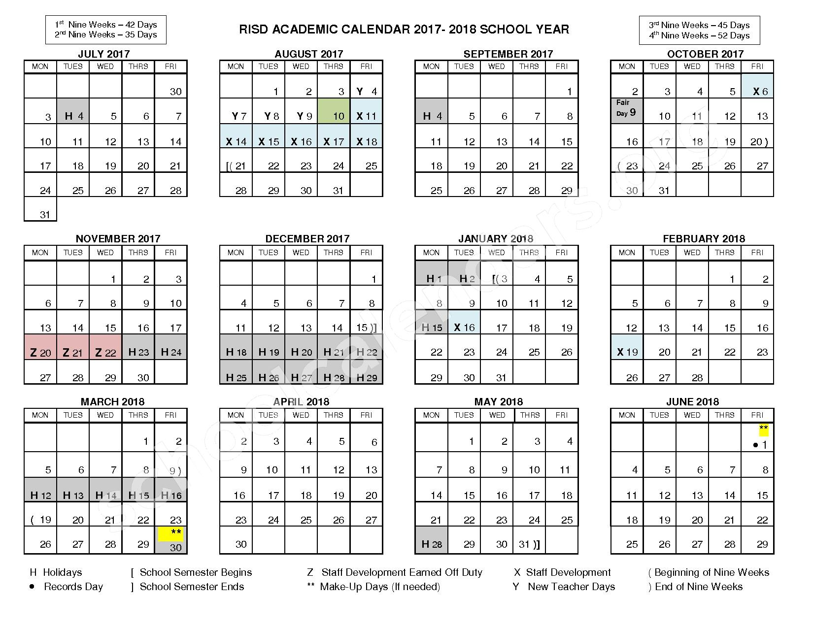 2017 - 2018 RISD Academic Calendar – Richardson Independent School District – page 1